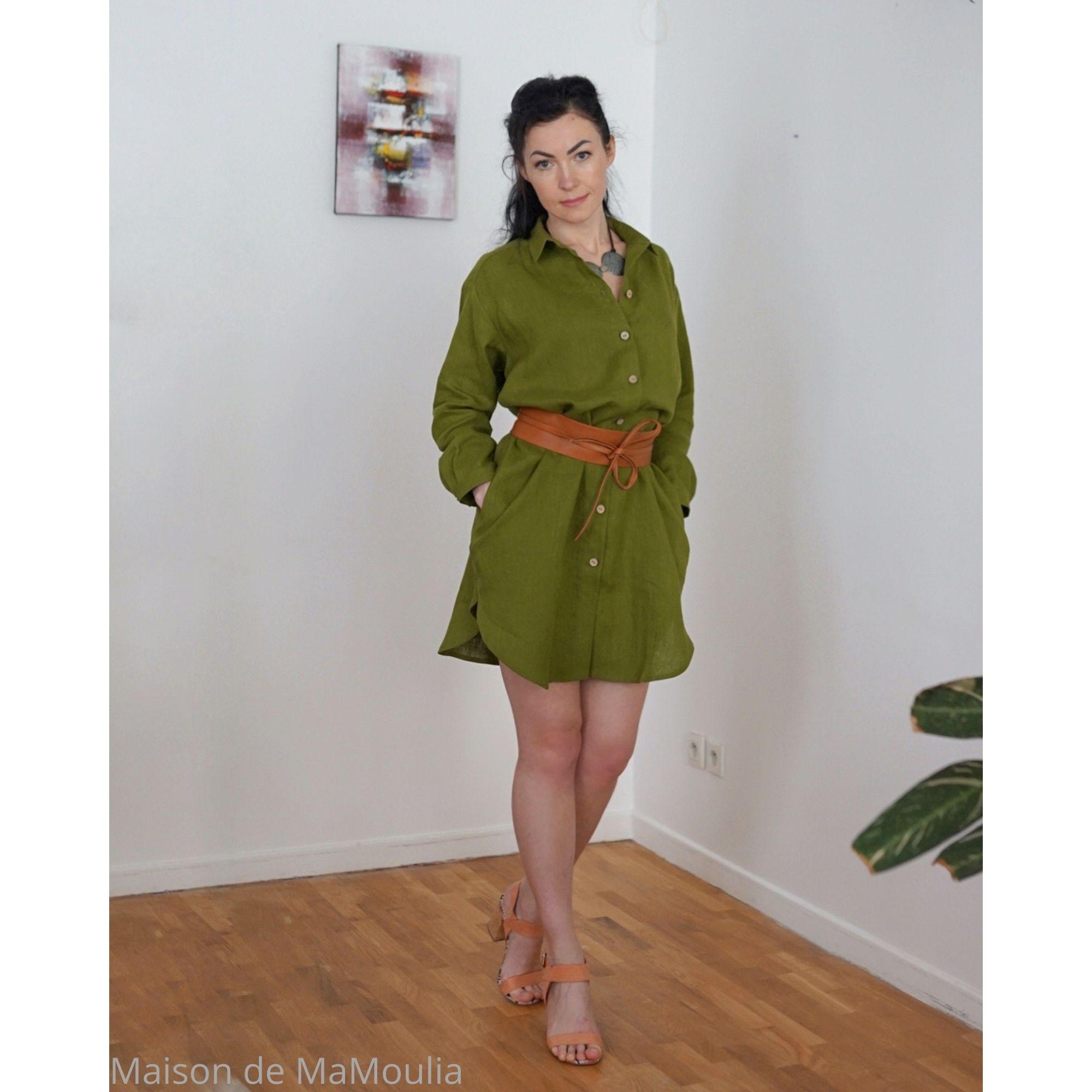 OFFON - Robe-chemise oversize - 100% lin lavé - Vert mousse