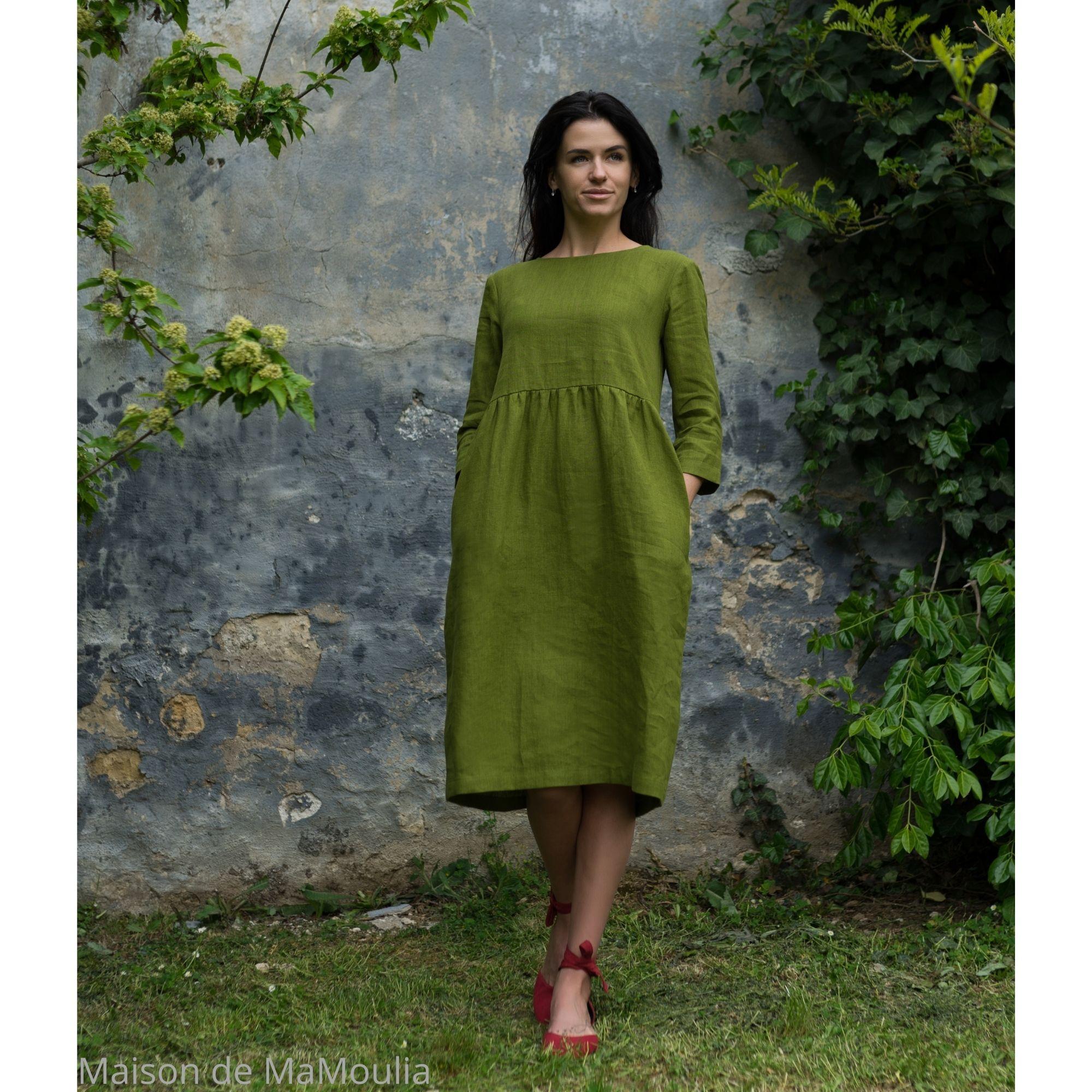 OFFON - Robe ample midi - 100% lin lavé - Vert mousse