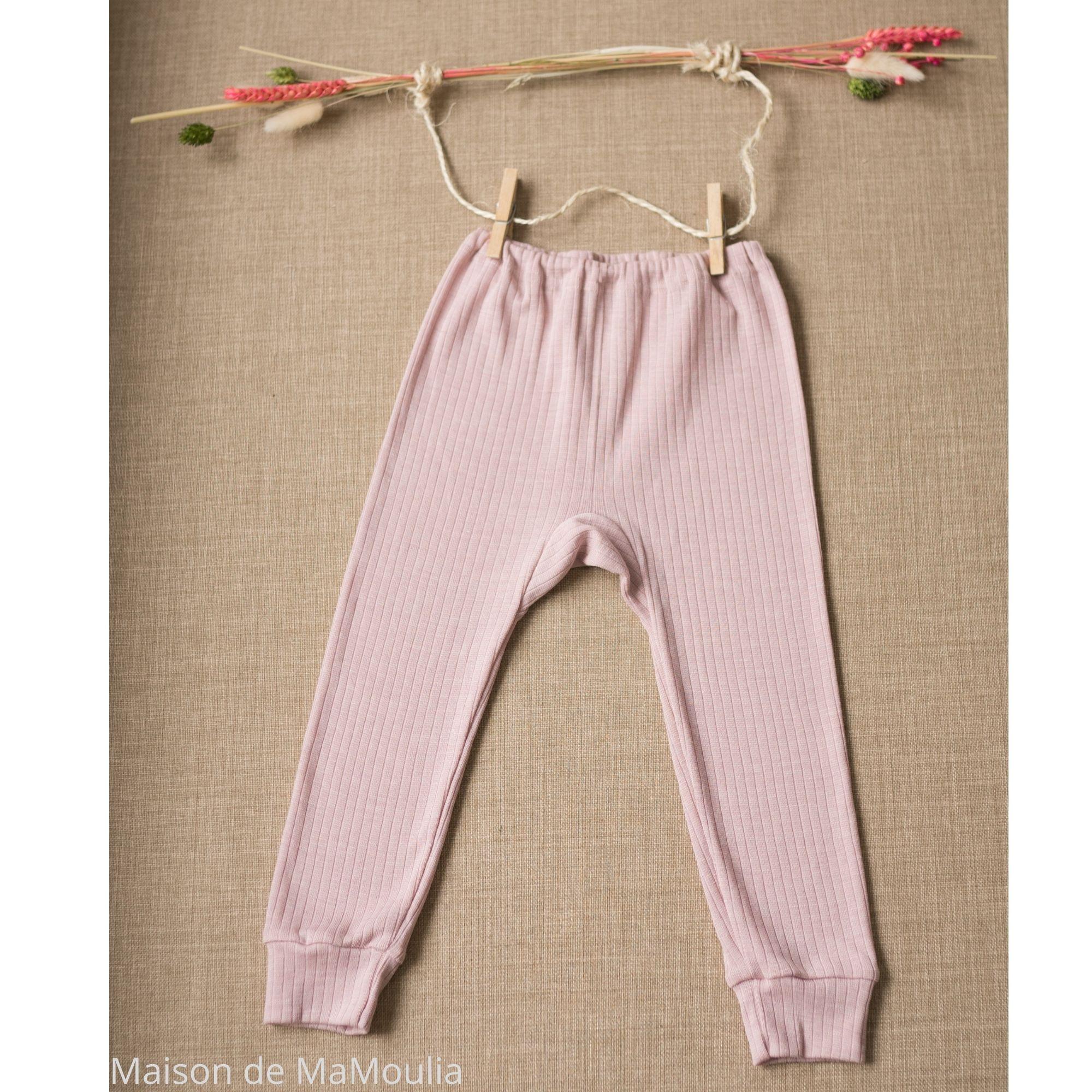 COSILANA - Pantalon-caleçon enfant - Laine/Soie/Coton bio, Rose