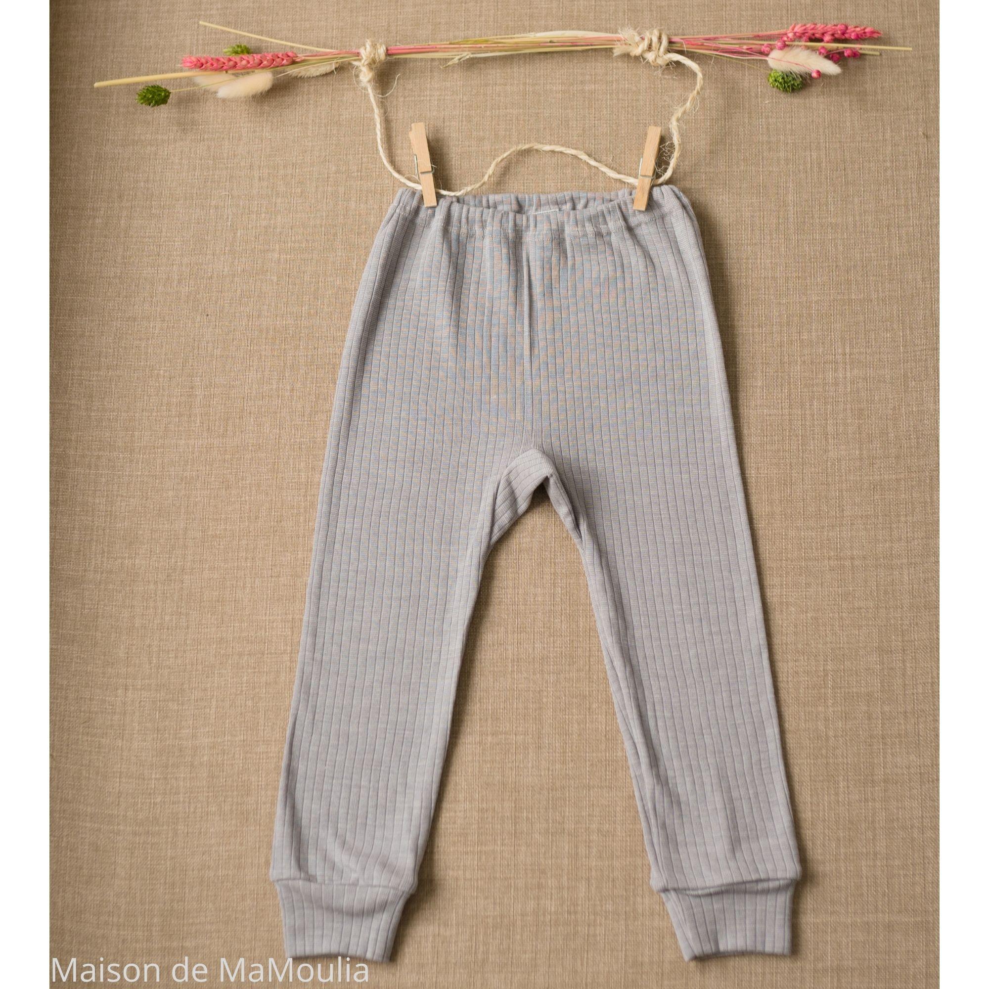 COSILANA - Pantalon-caleçon enfant - Laine/Soie/Coton bio, Gris