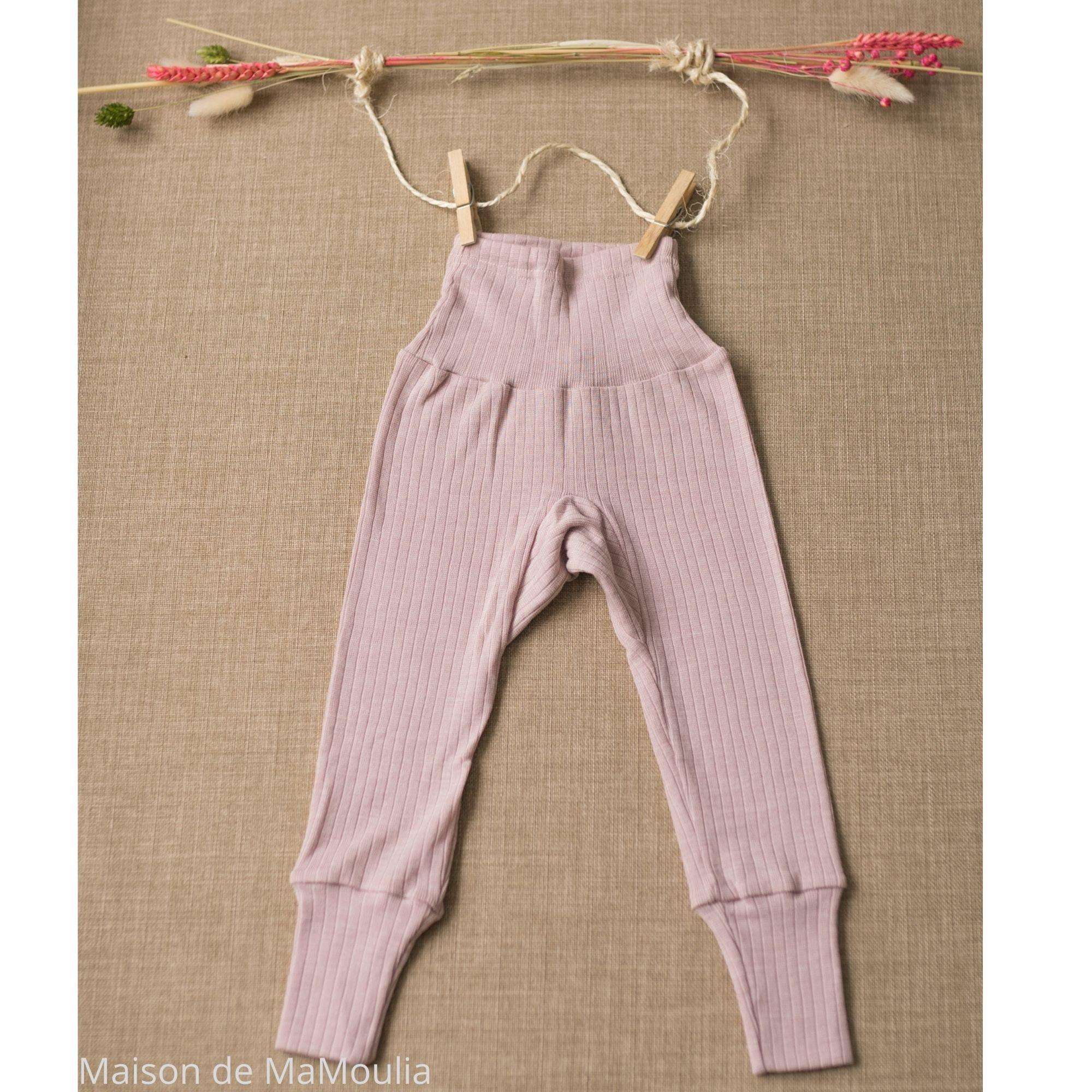 COSILANA - Pantalon ceinture large - Laine/Soie/Coton bio, Rose