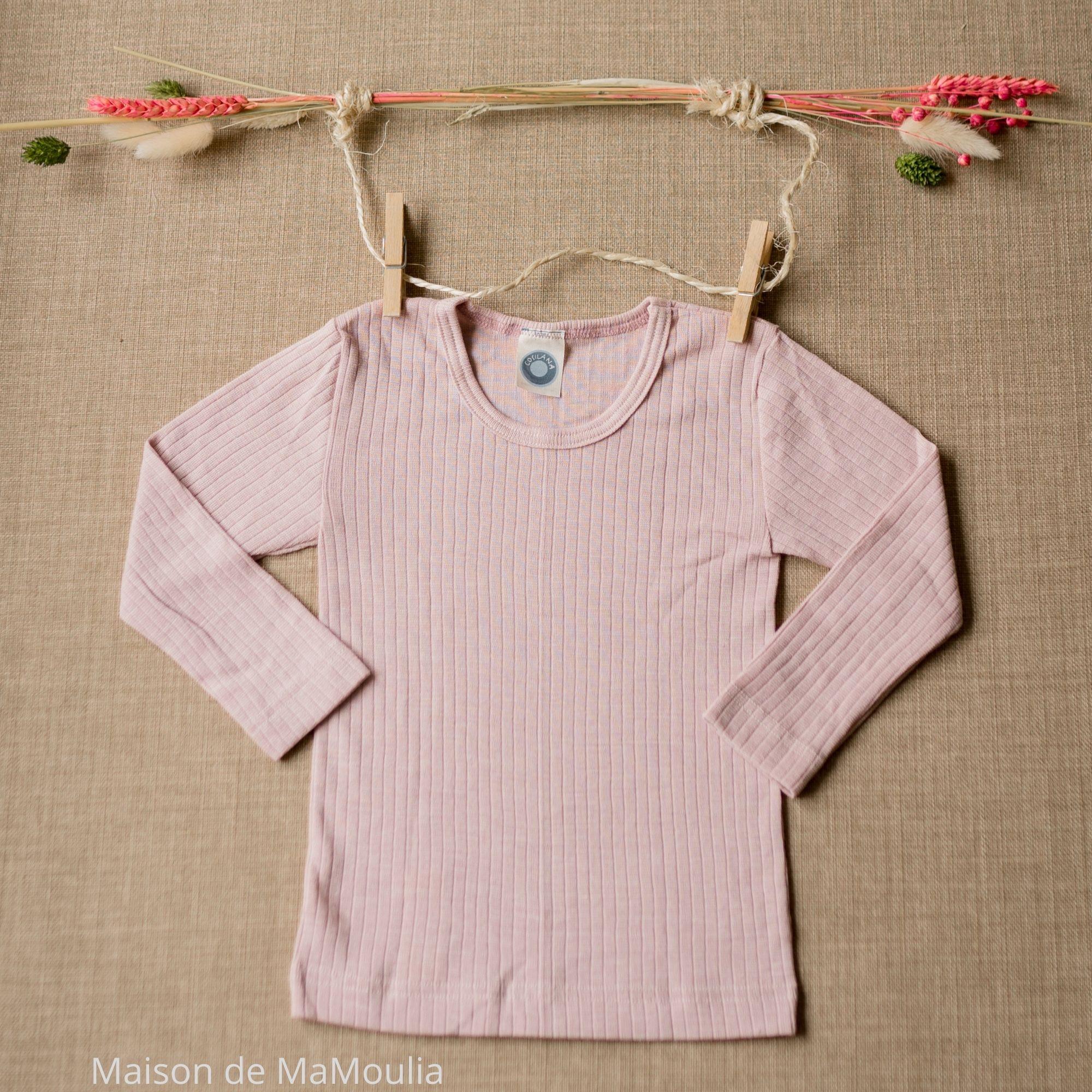 COSILANA - T-shirt manches longues - Laine/Soie/Coton bio, Rose