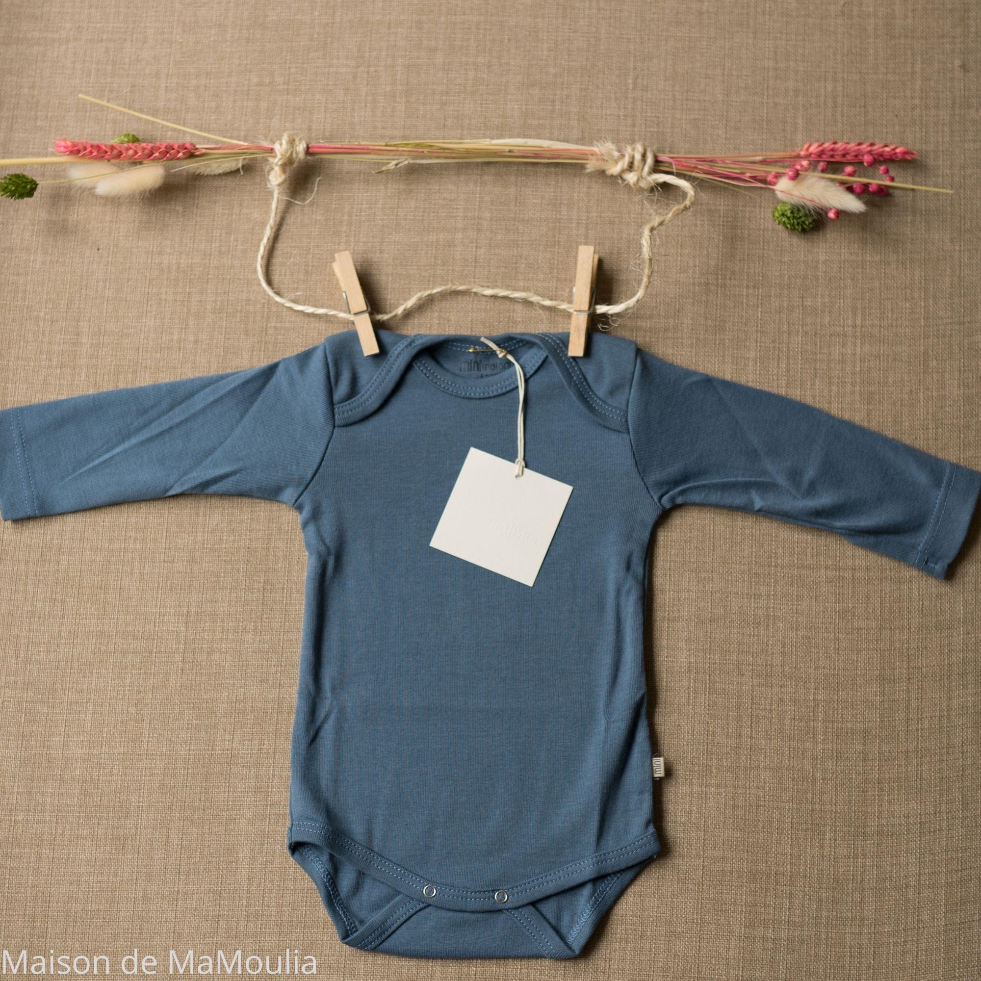 MINIMALISMA - Body bébé - 100 % coton bio - Nebel - Bleu
