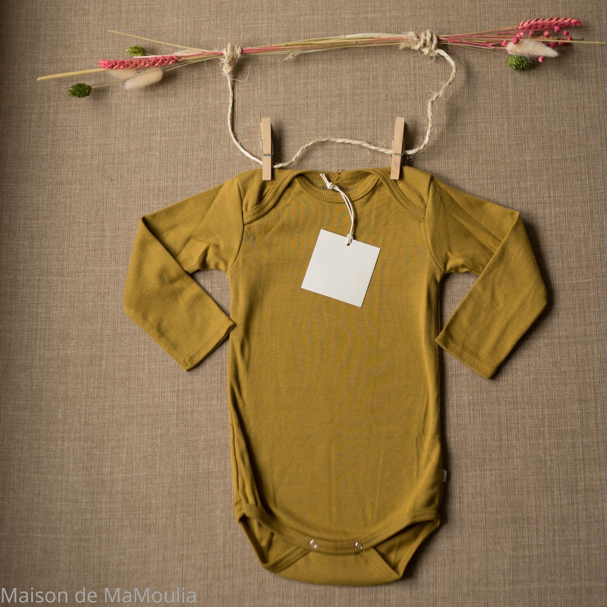 MINIMALISMA - Body bébé - 100 % coton bio - Nebel - Golden leaf