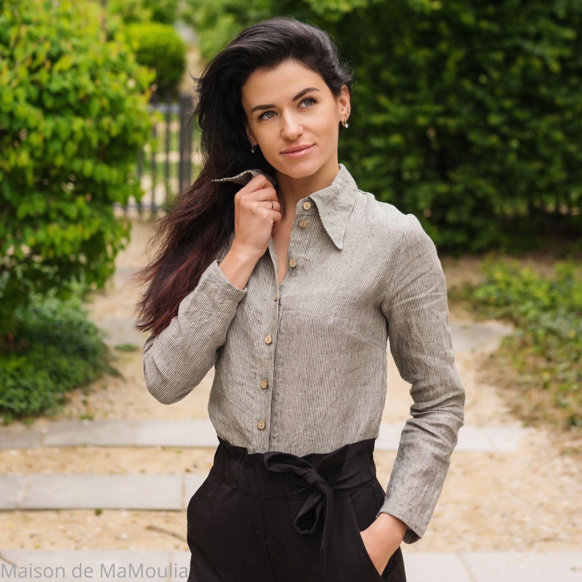 chemise-femme-pure-lin-lave-simplygrey-maison-de-mamoulia-rayures-fines- gris