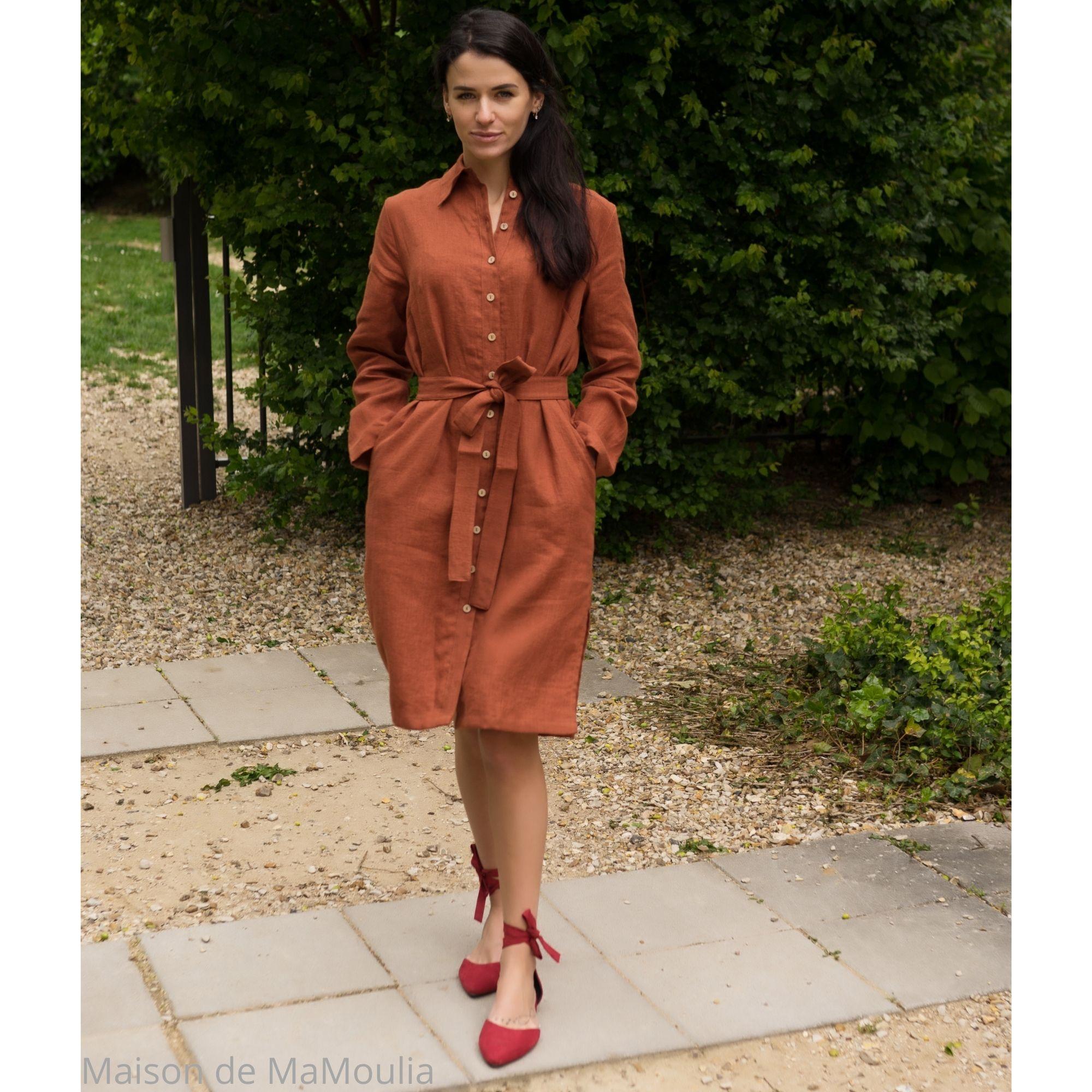 SIMPLY GREY - Robe-chemise femme - 100% lin lavé - Rouge brique