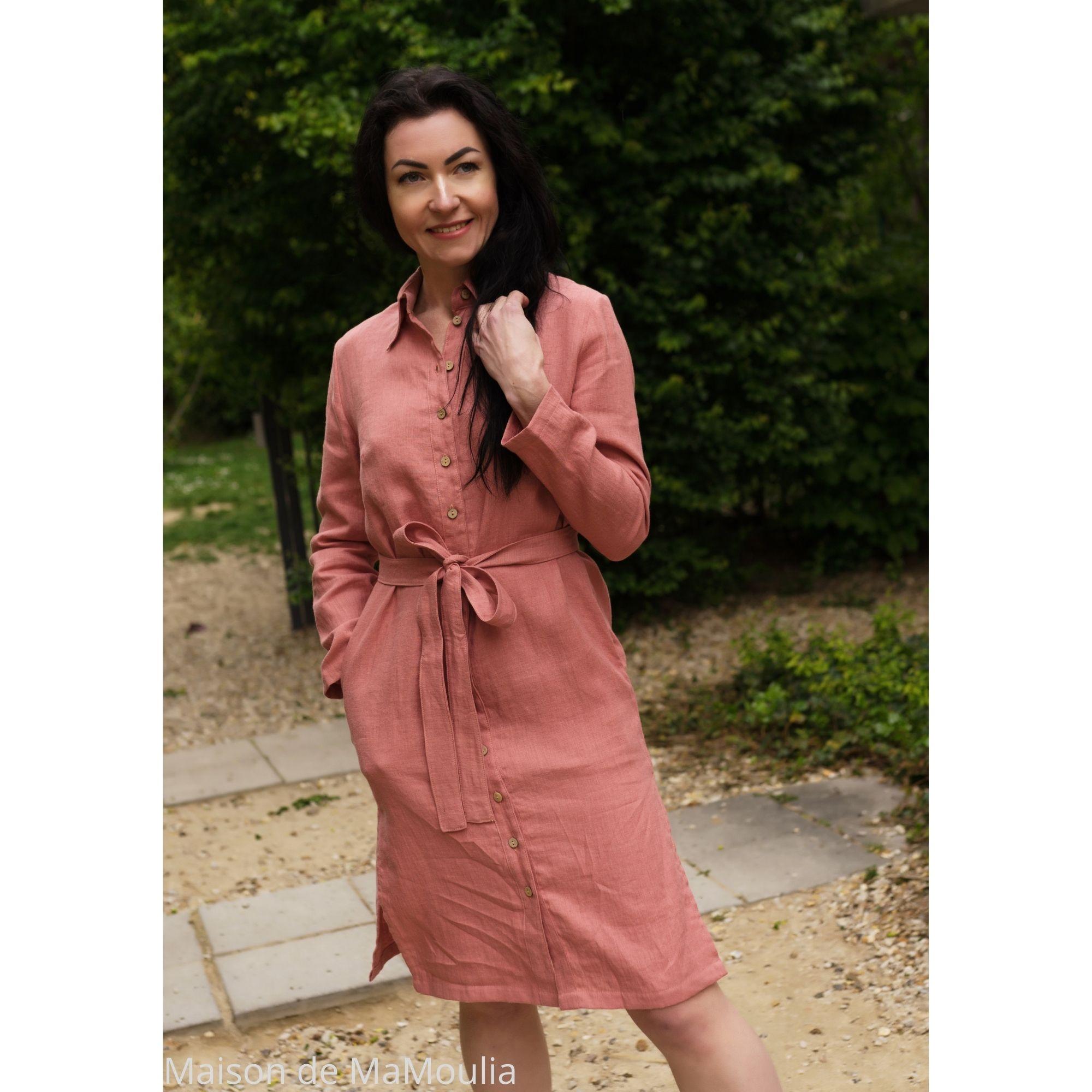 SIMPLY GREY - Robe-chemise pour femme - 100% lin lavé - Rose