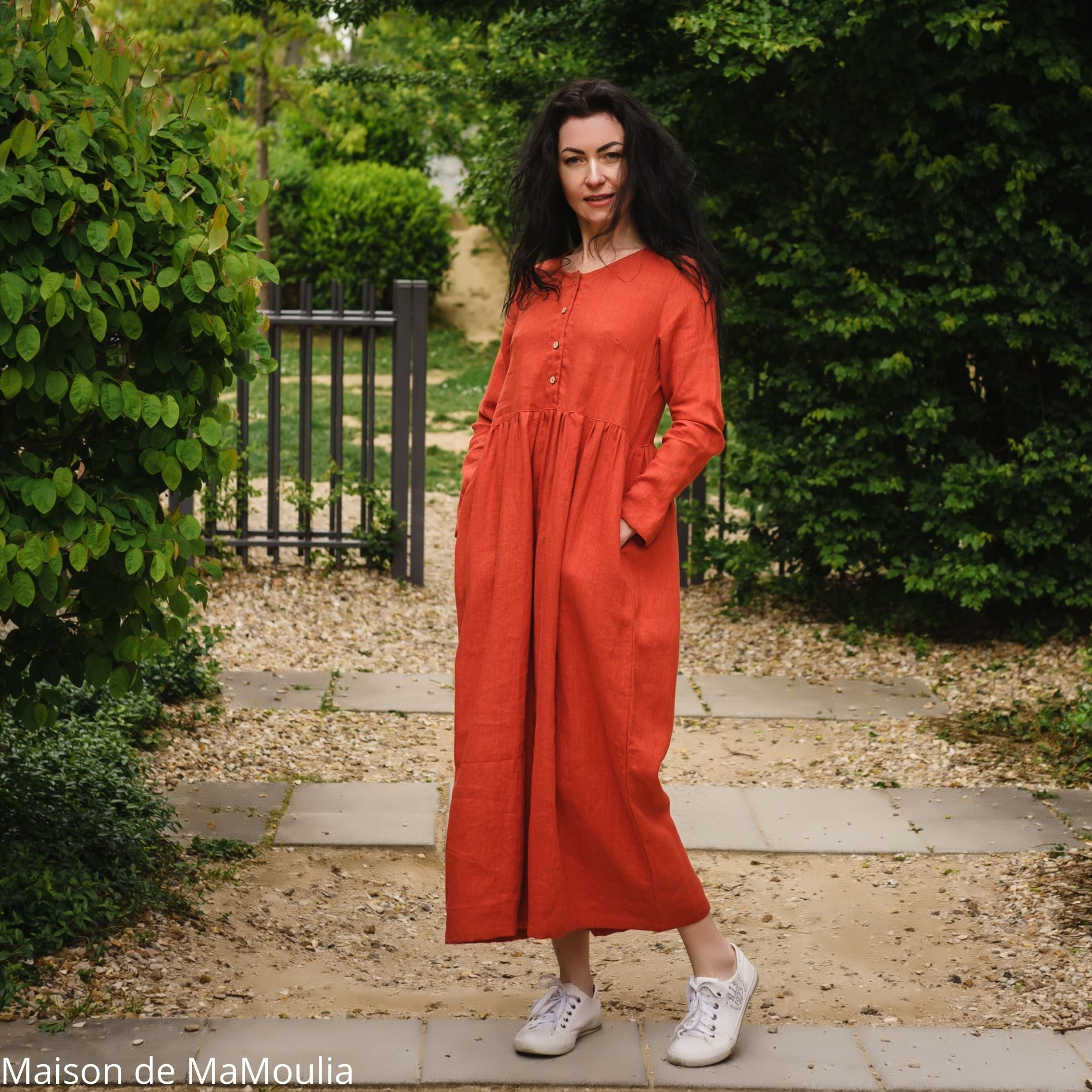 SIMPLY GREY - Robe très longue Boho femme - 100% lin lavé - Rouge