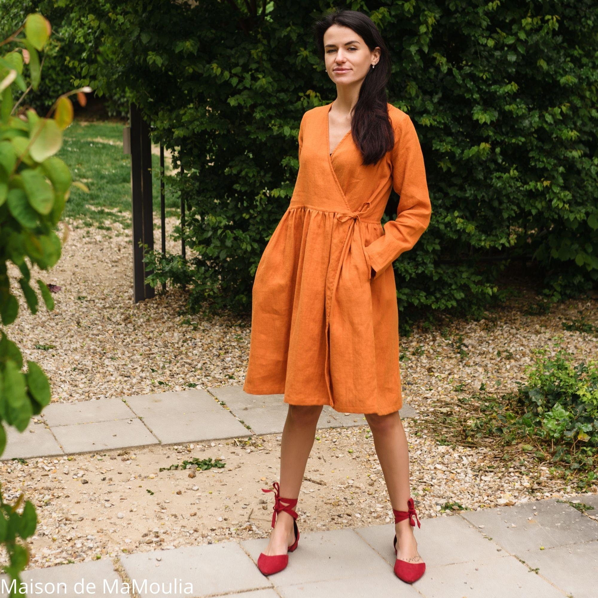 SIMPLY GREY - Robe cache-cœur pour femme - 100% lin lavé - Rouille