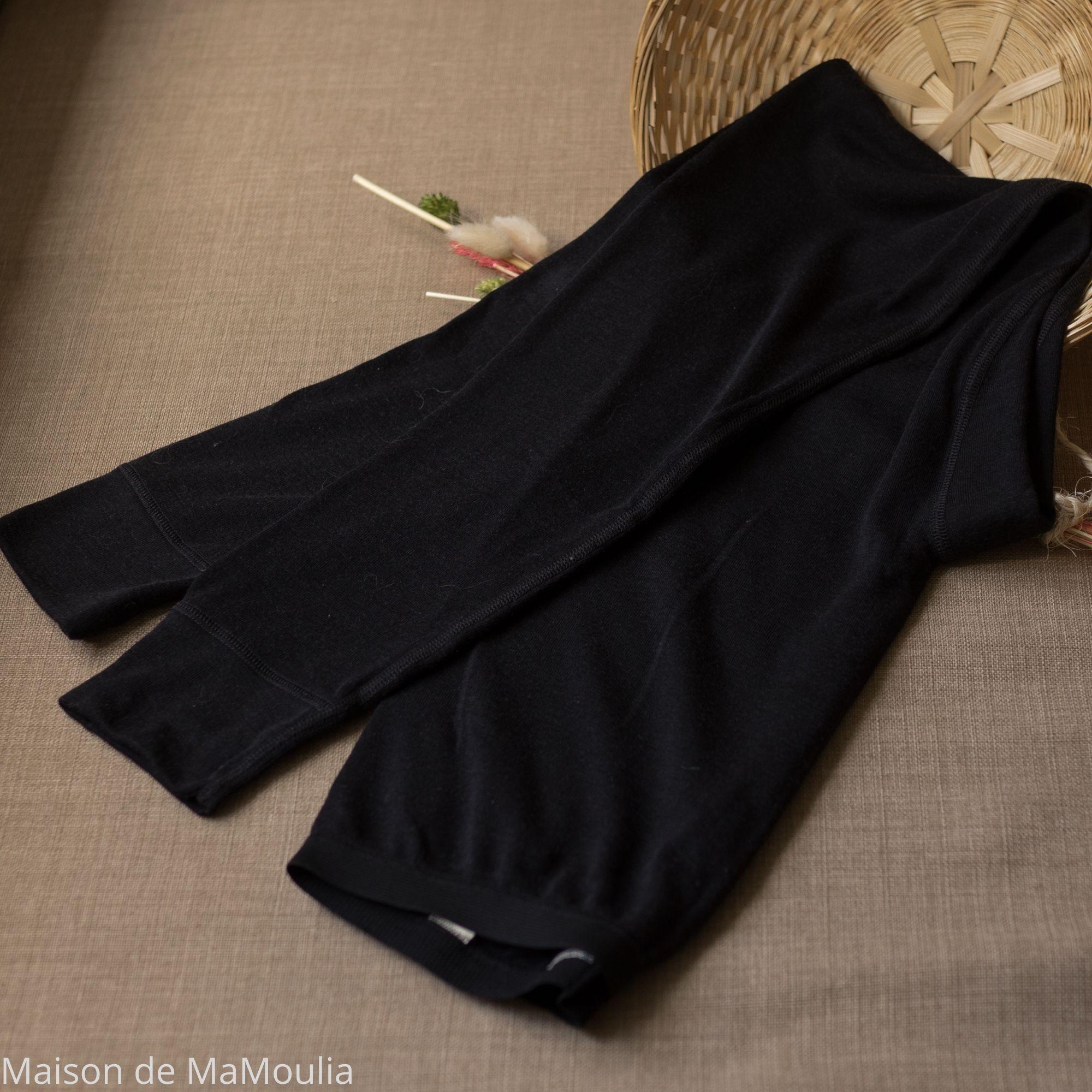 COSILANA - Legging pour Femme - 70% laine/ 30% soie, Noir