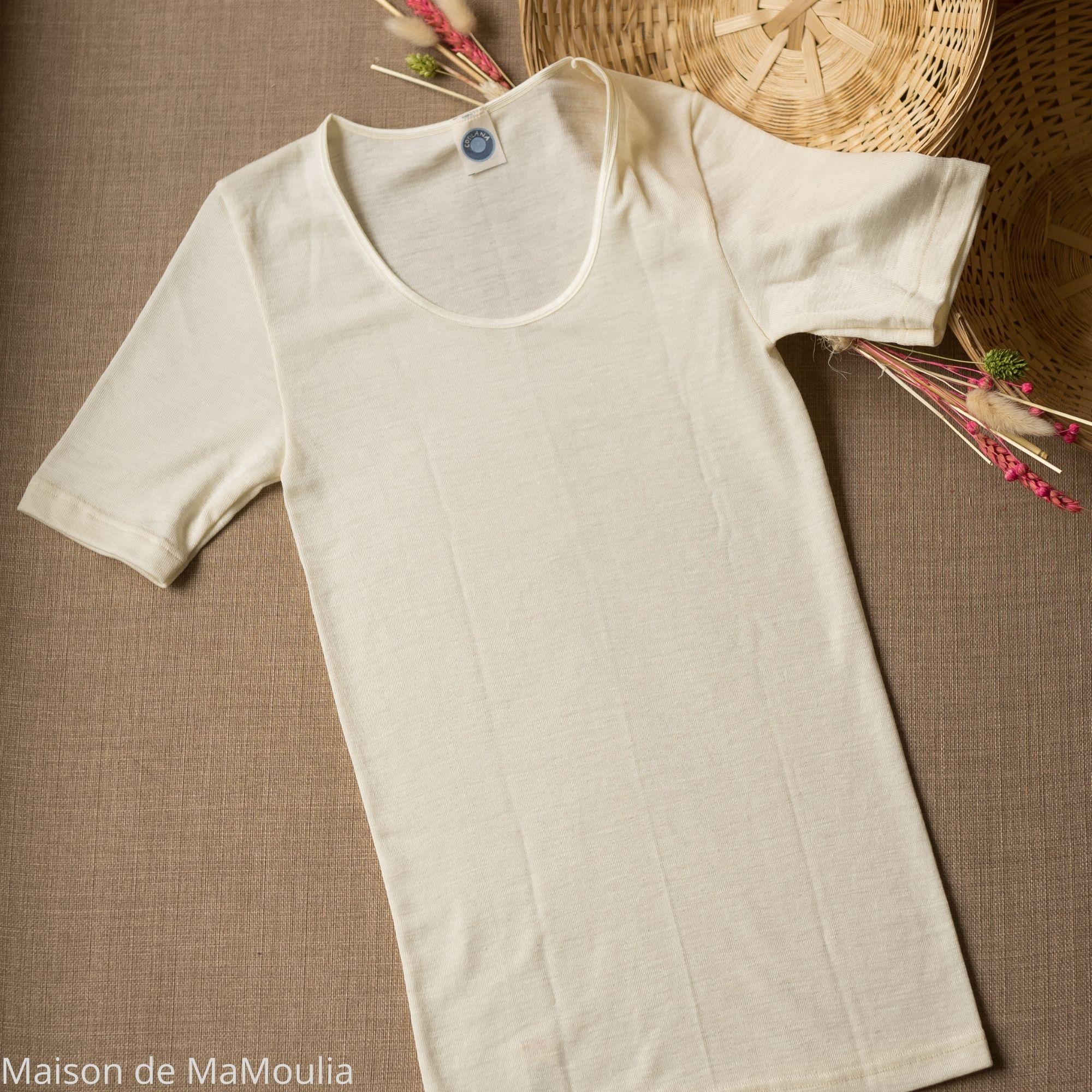 COSILANA - T-shirt manches courtes - 70% laine/ 30% soie, Écru