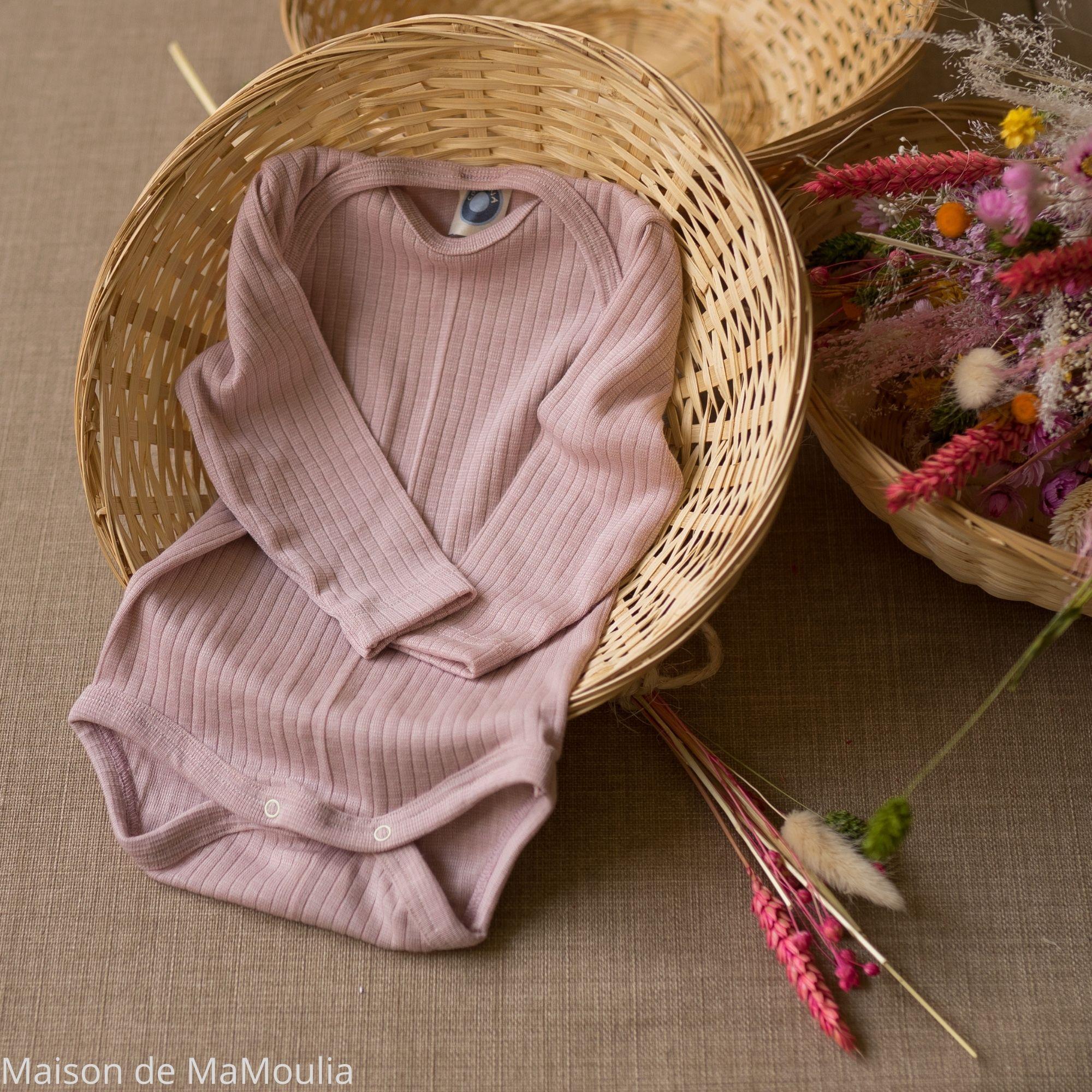 COSILANA - Body manches longues - Laine/Soie/Coton bio, Rose