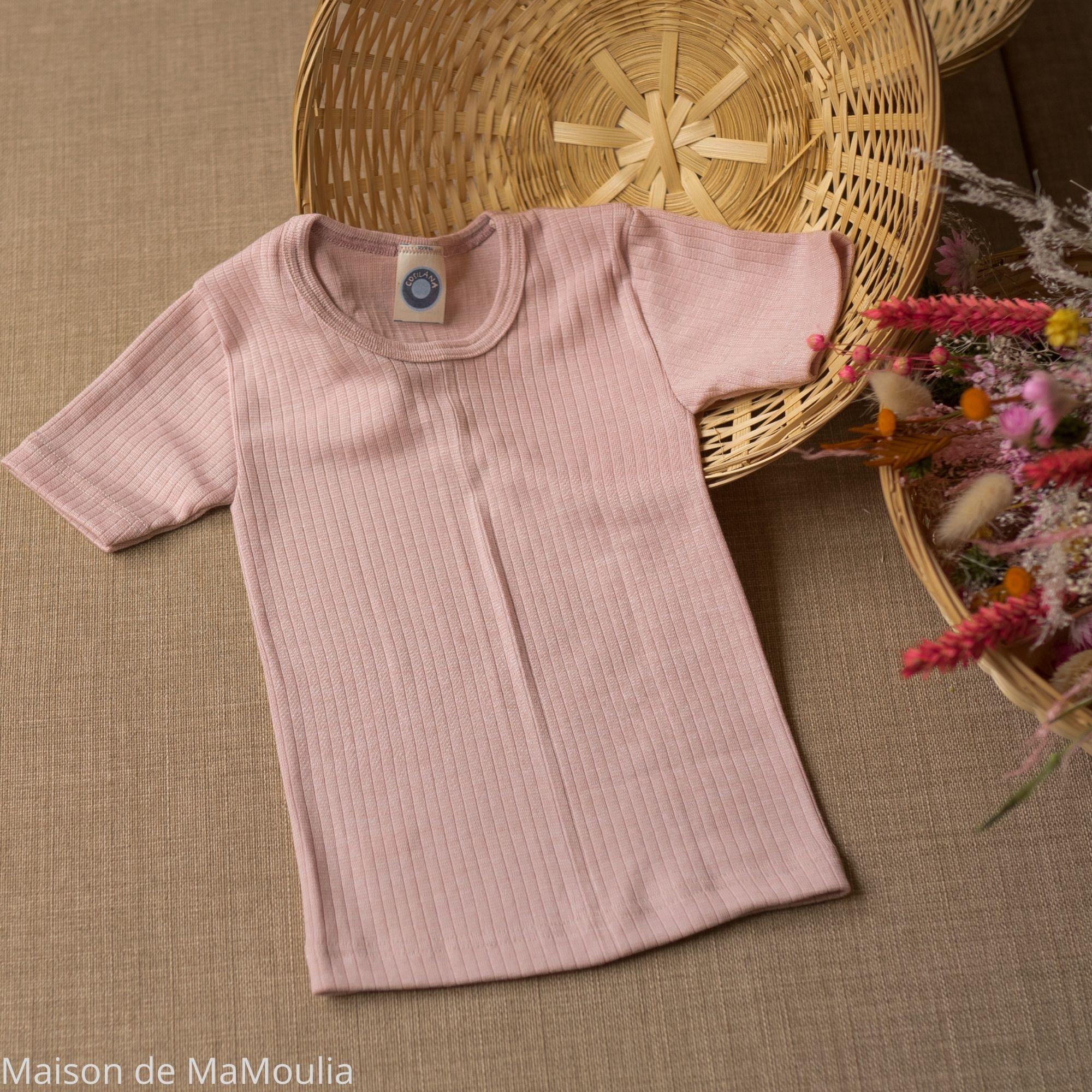 COSILANA - T-shirt manches courtes - Laine/Soie/Coton bio, Rose