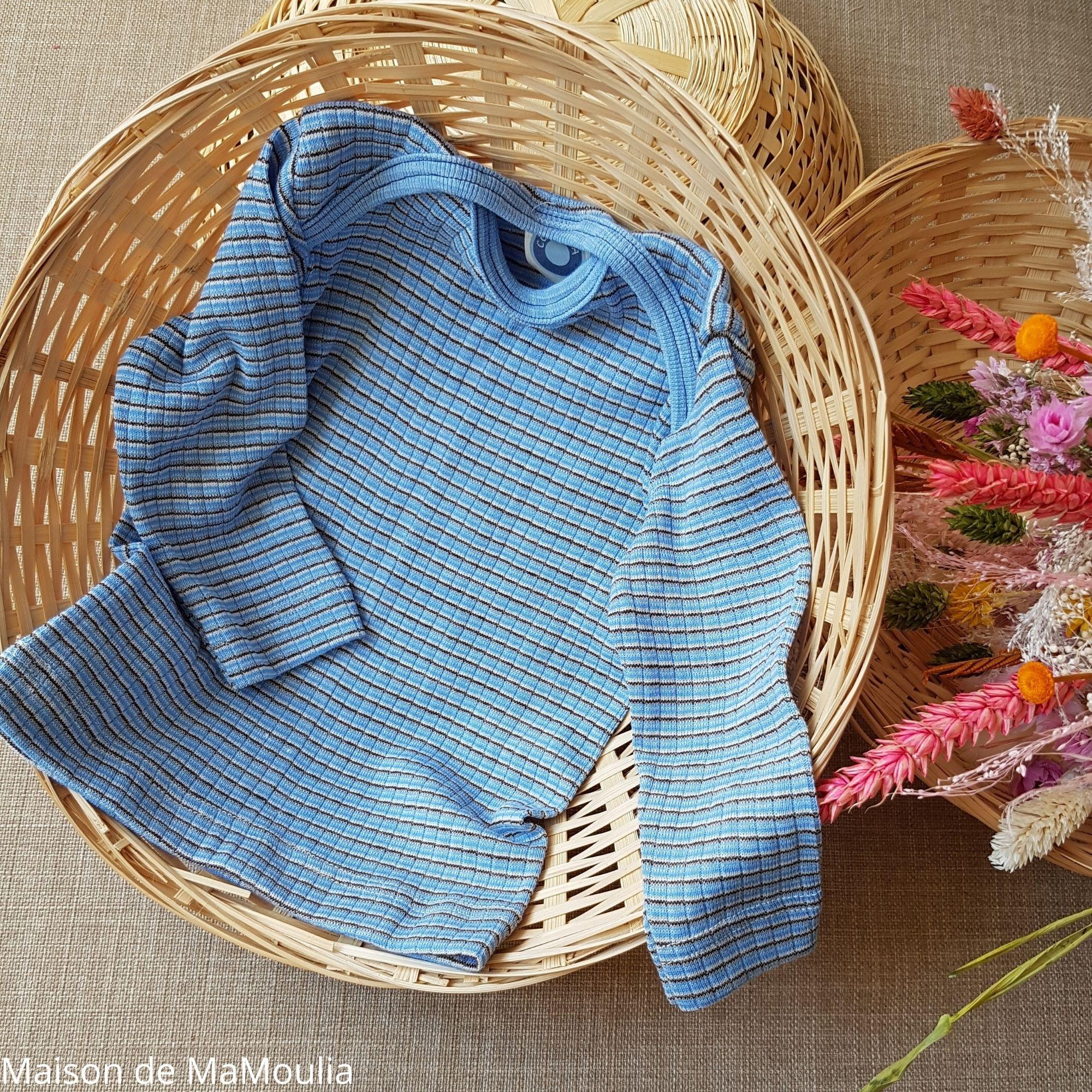 COSILANA - T-shirt manches longues bébé - Laine/Soie/Coton, Bleu