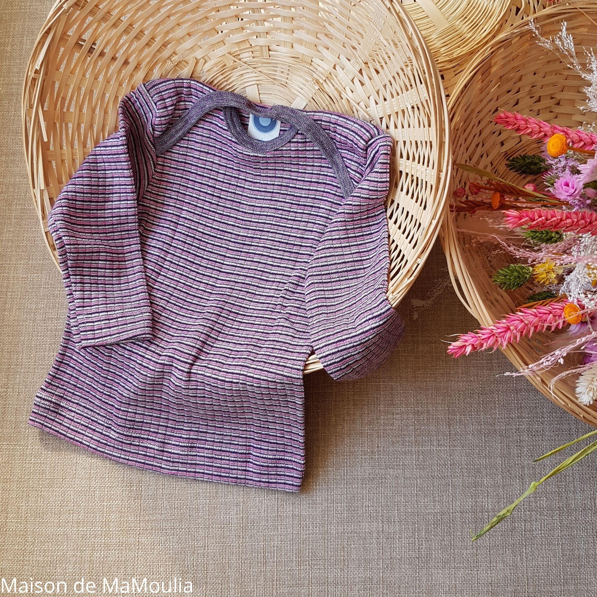 COSILANA - T-shirt manches longues bébé - Laine/Soie/Coton, Prune