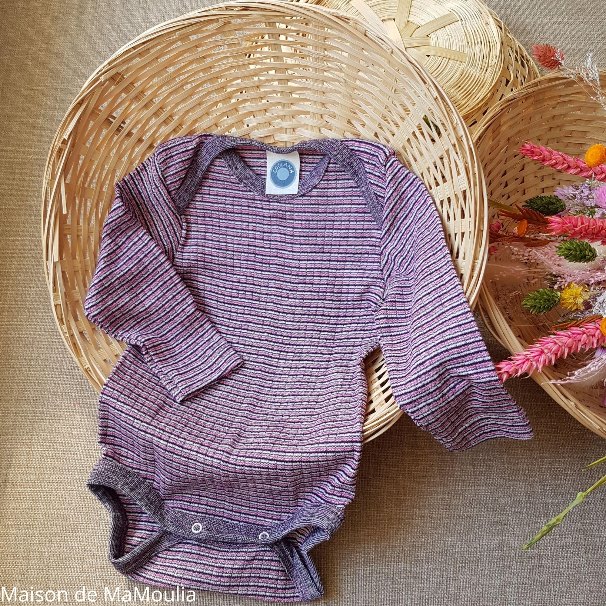 COSILANA - Body manches longues - Laine/Soie/Coton bio, Prune