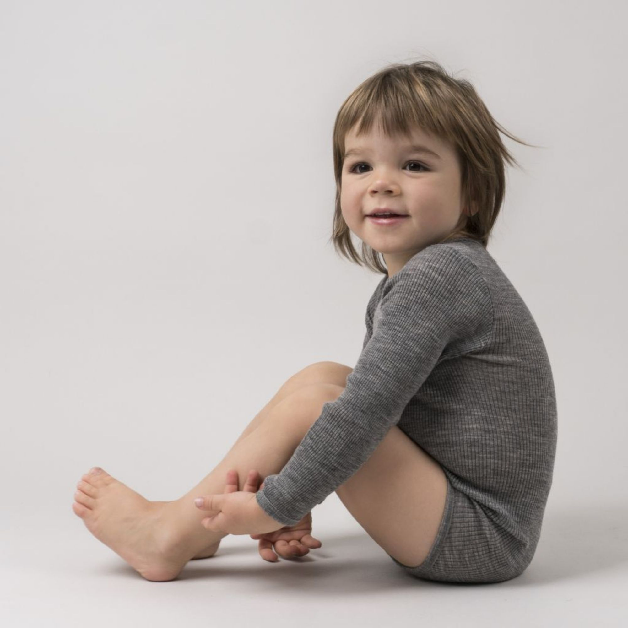 MINIMALISMA - Body bébé - 100 % laine mérinos - Gris mélangé