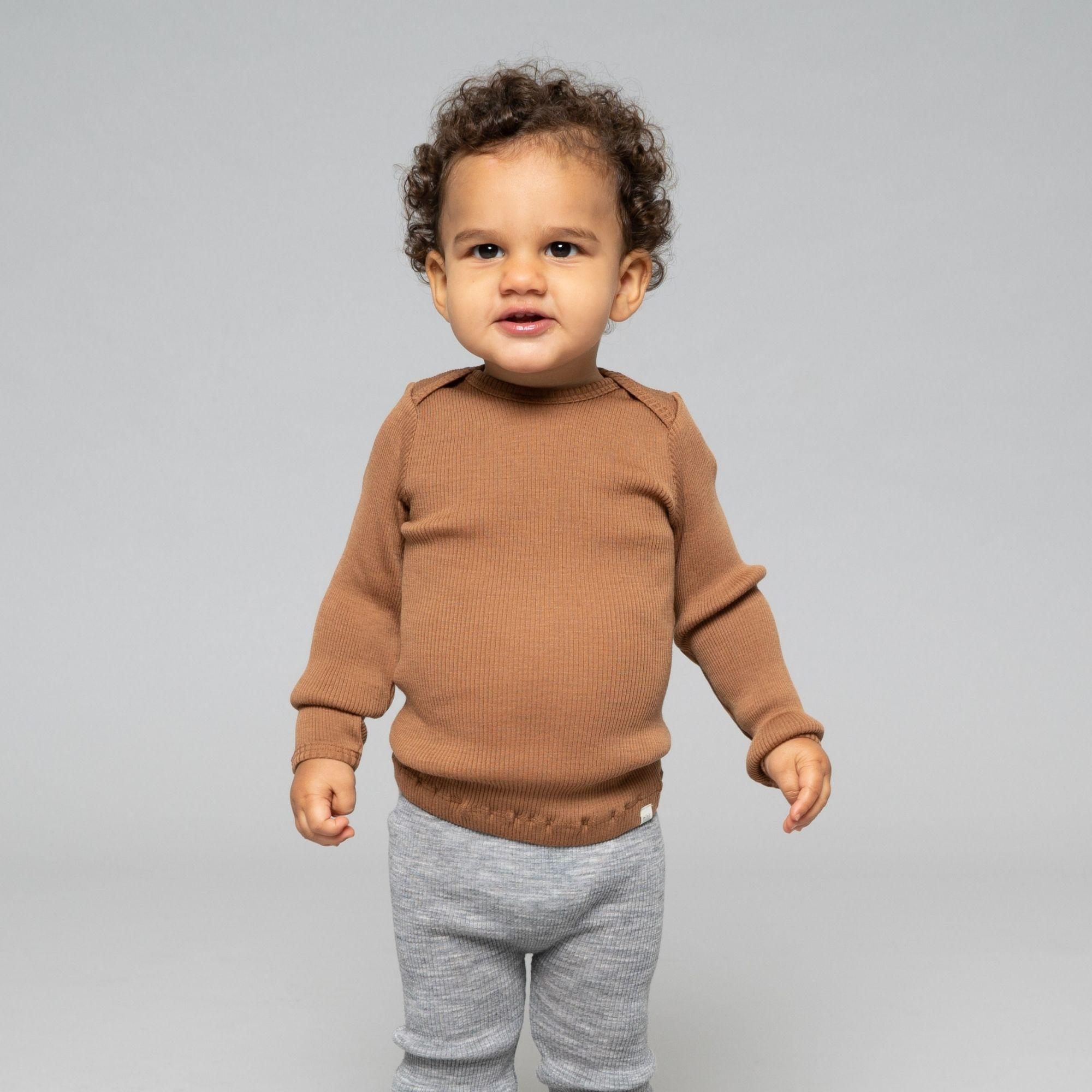 MINIMALISMA - T-shirt bébé - 100 % laine mérinos - Caramel