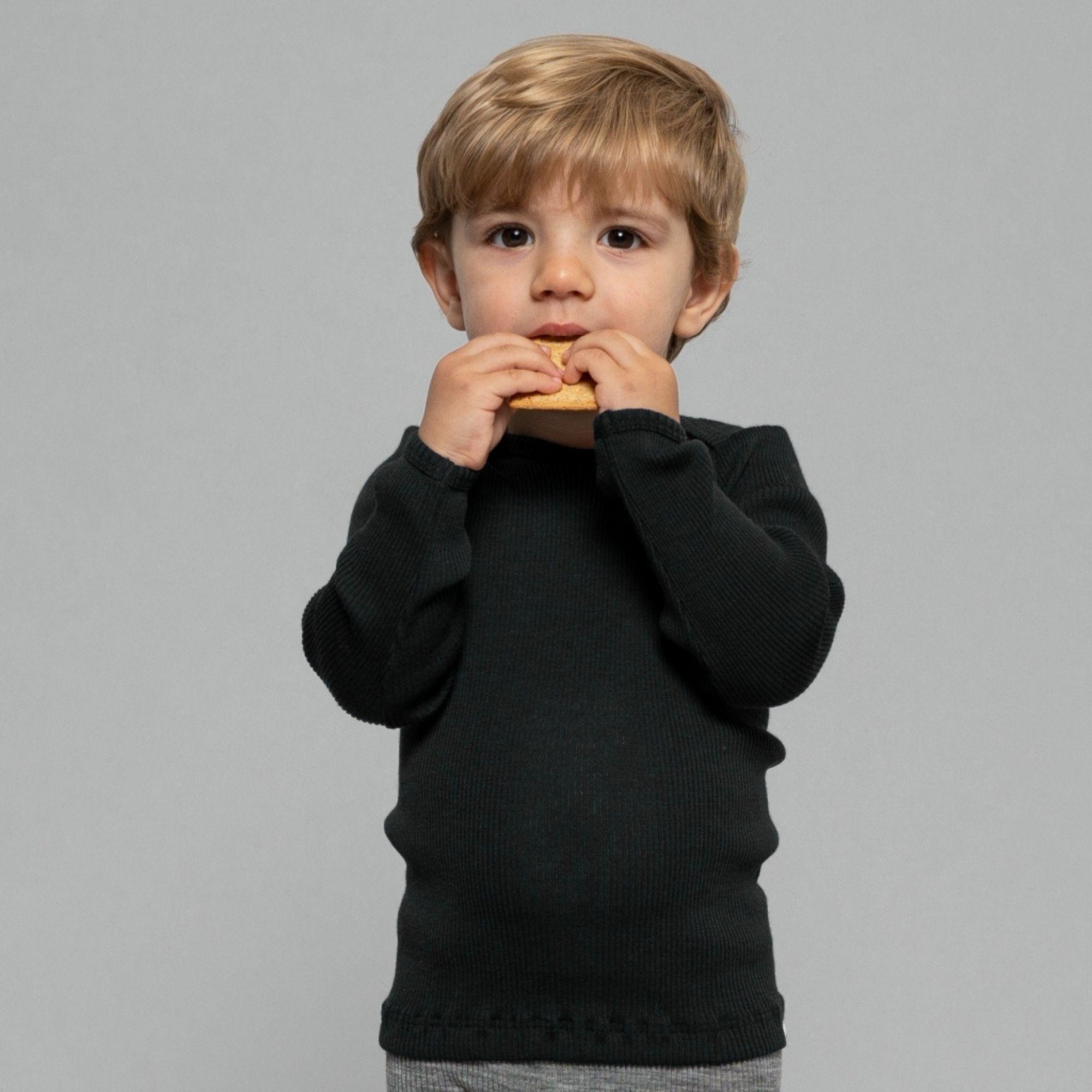 MINIMALISMA - T-shirt bébé - 100 % laine mérinos - Navy teal