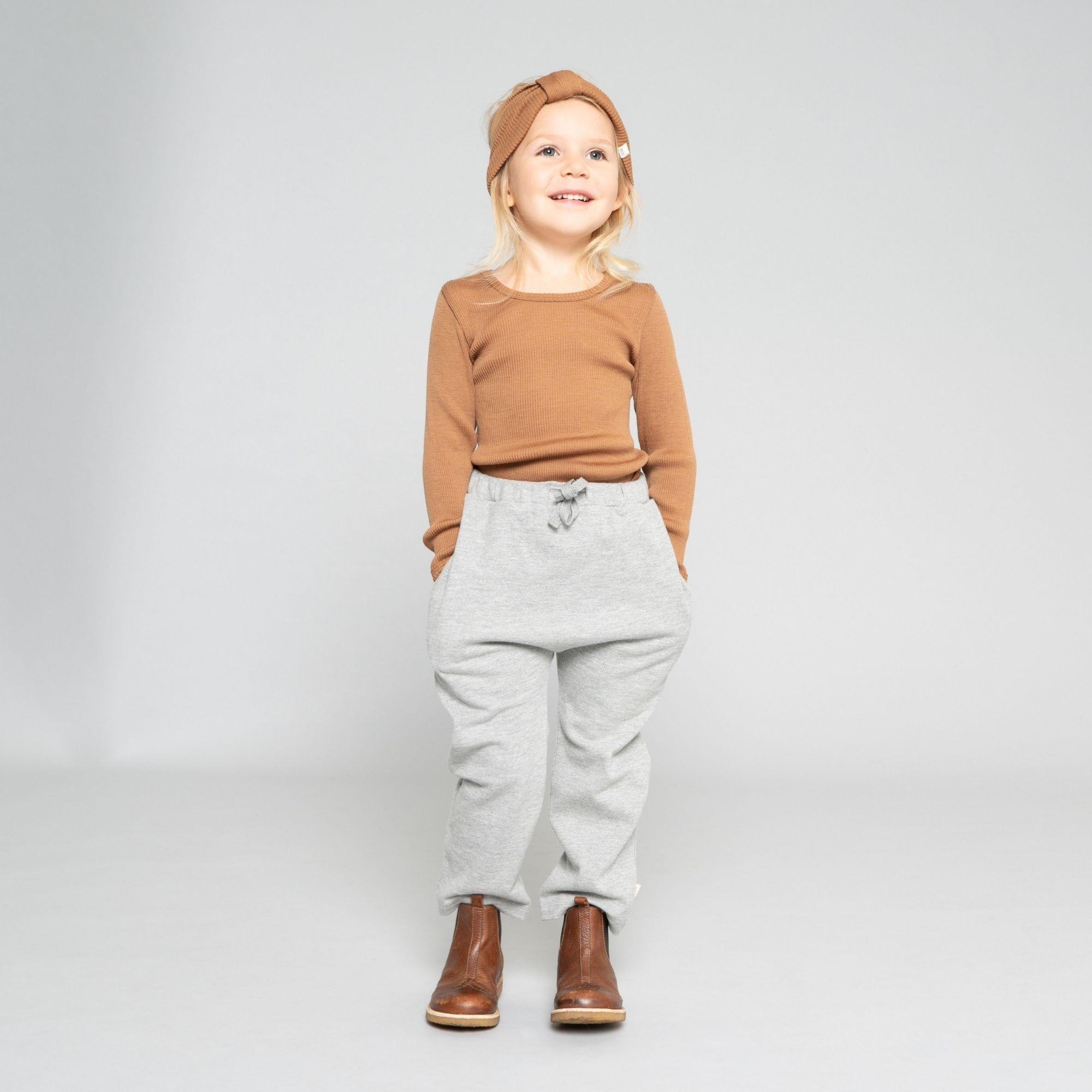 MINIMALISMA - T-shirt enfant - 100 % laine mérinos - Caramel