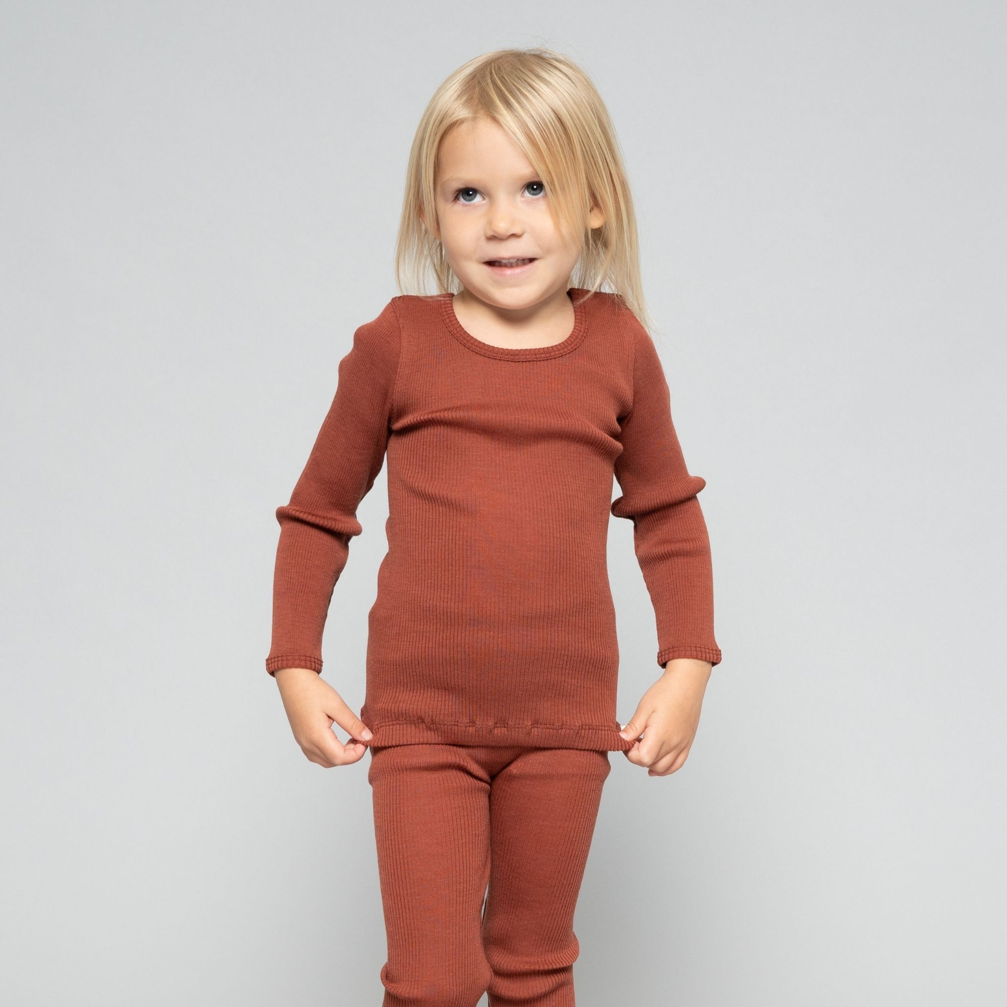 MINIMALISMA - T-shirt enfant - 100 % laine mérinos - Rhubarbe