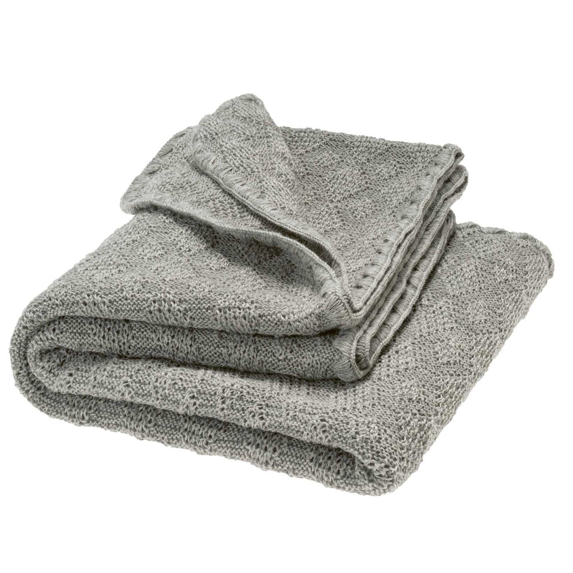 DISANA - Couverture tricotée - Laine mérinos - GRISE - ORIGINALE