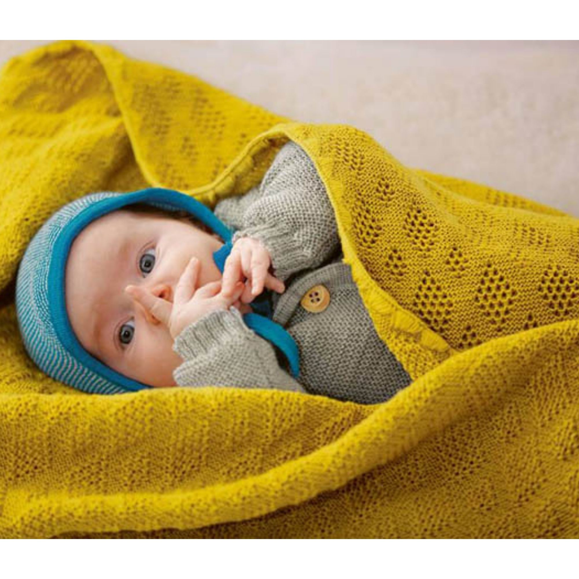 DISANA - Couverture tricotée - Laine mérinos - CURRY - ORIGINALE