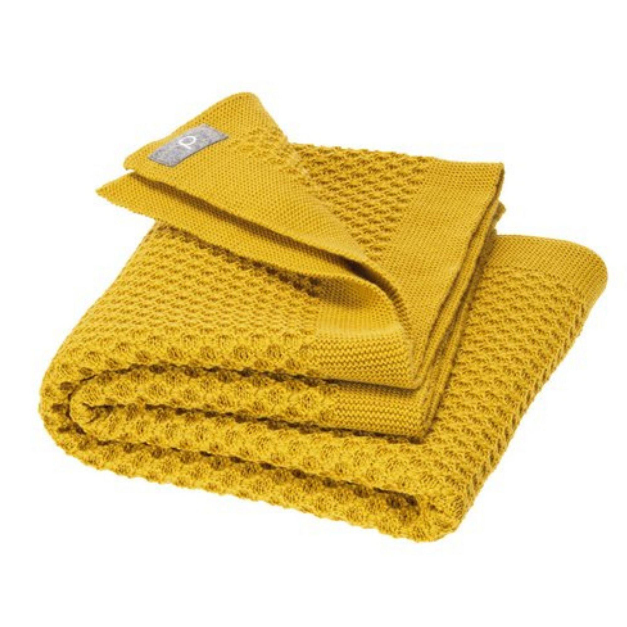 DISANA - Couverture tricotée - Laine mérinos - CURRY-NID D\'ABEILLE
