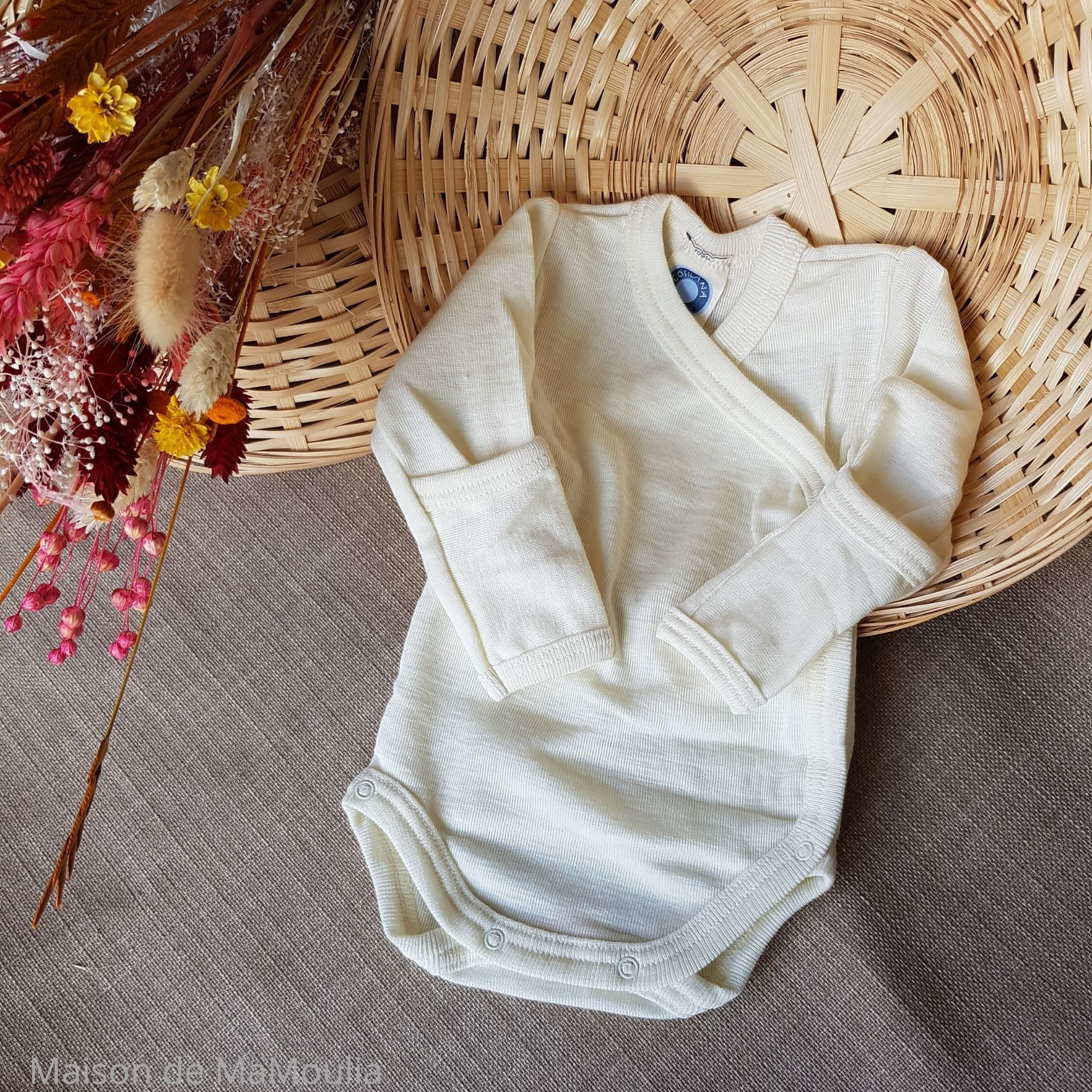COSILANA - Body-kimono manches longues - 70% laine/30% soie, Écru