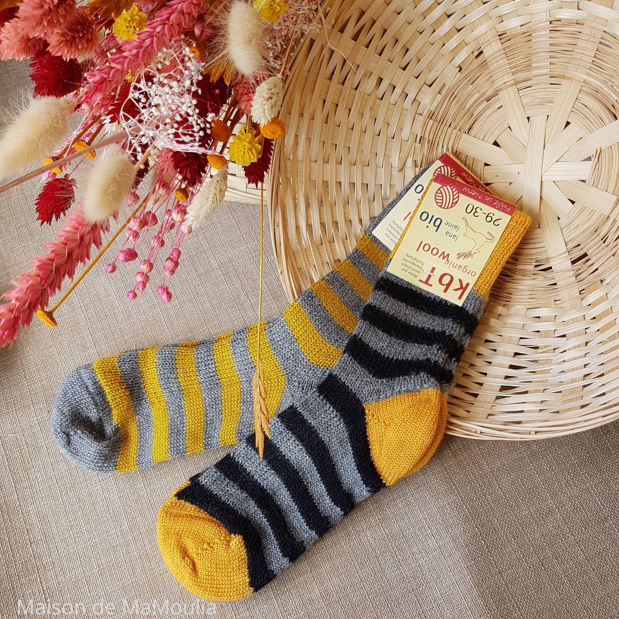 HIRSCH Natur - Chaussettes épaisses - Rayures- 100% laine -Enfant