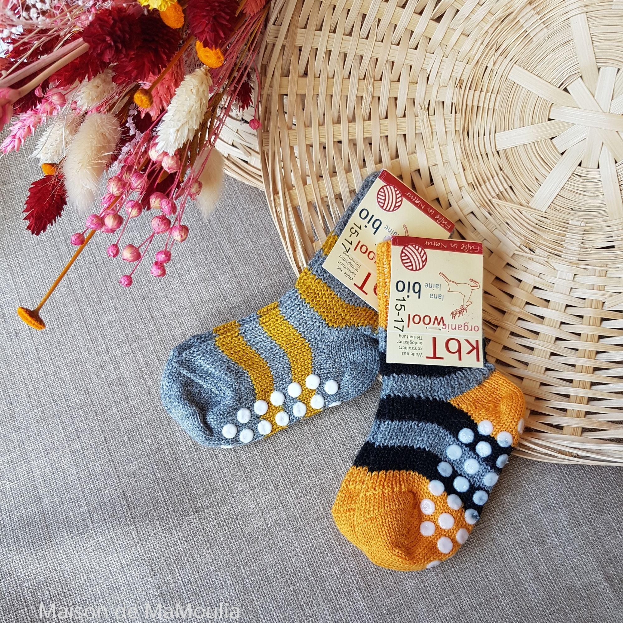HIRSCH Natur - Chaussettes antidérapantes -Rayures- Laine -Enfant
