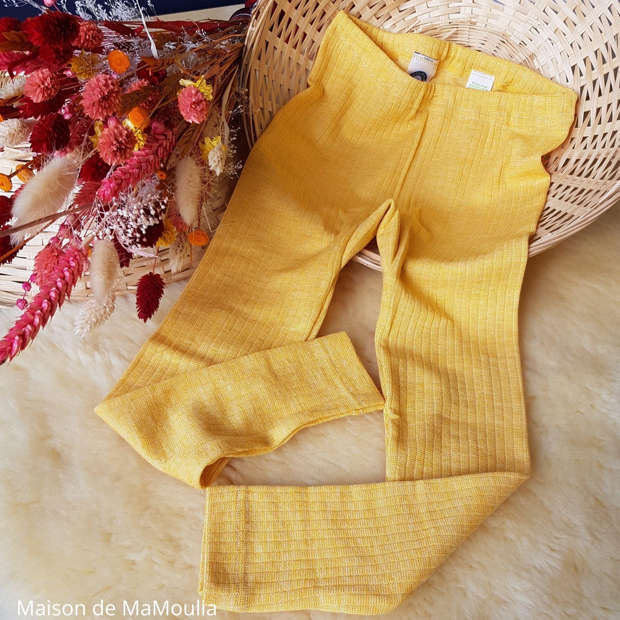 COSILANA - Pantalon-caleçon enfant - Laine/Soie/Coton bio, Jaune