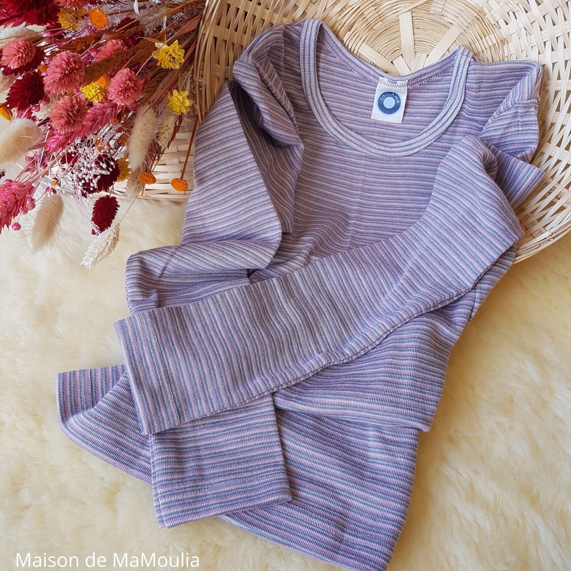 COSILANA - T-shirt pour enfant - Laine-soie, Rose/Gris
