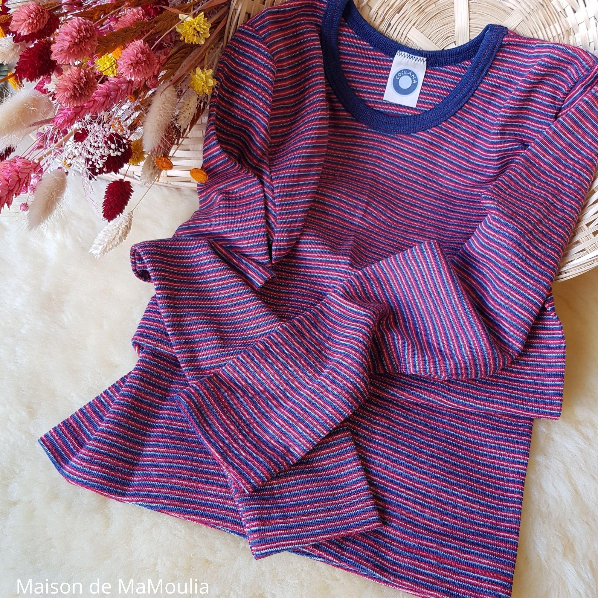 COSILANA - T-shirt pour enfant - Laine-soie, Rouge/bleu
