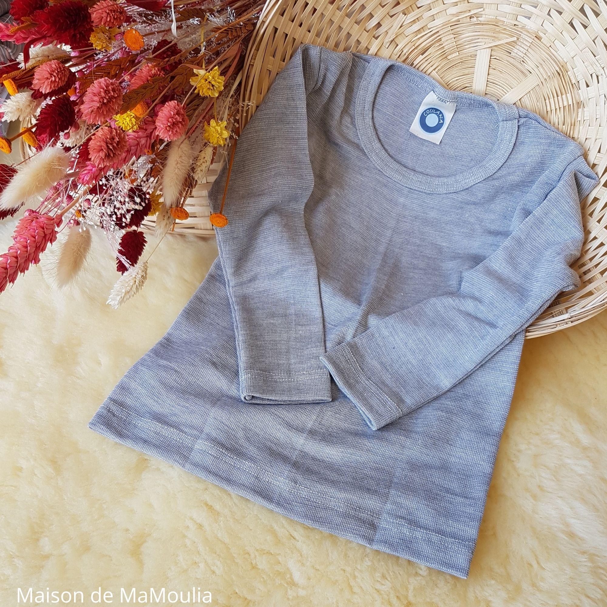 COSILANA - T-shirt pour enfant - Laine-soie, Gris