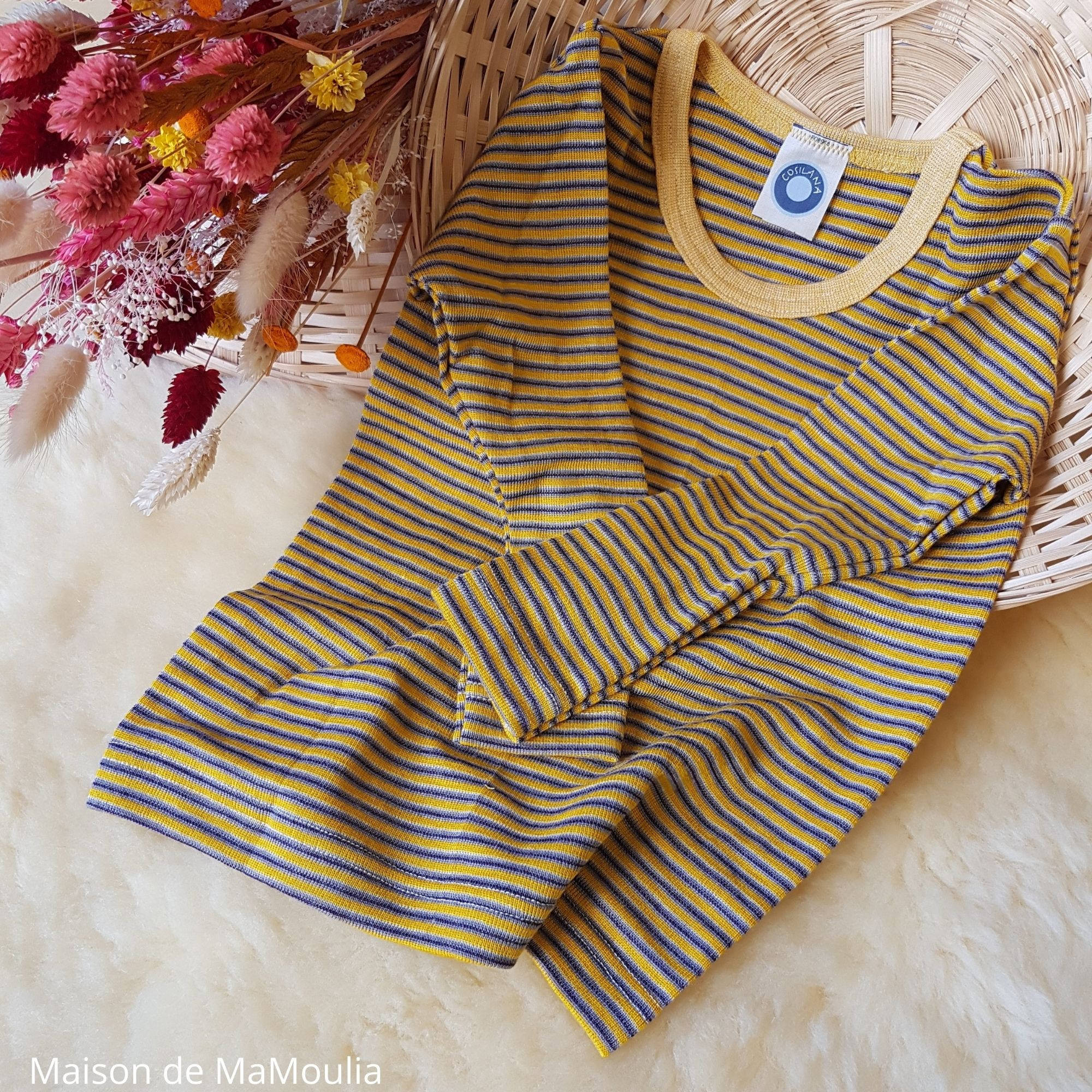 COSILANA - T-shirt pour enfant - Laine-soie, Jaune/Violet