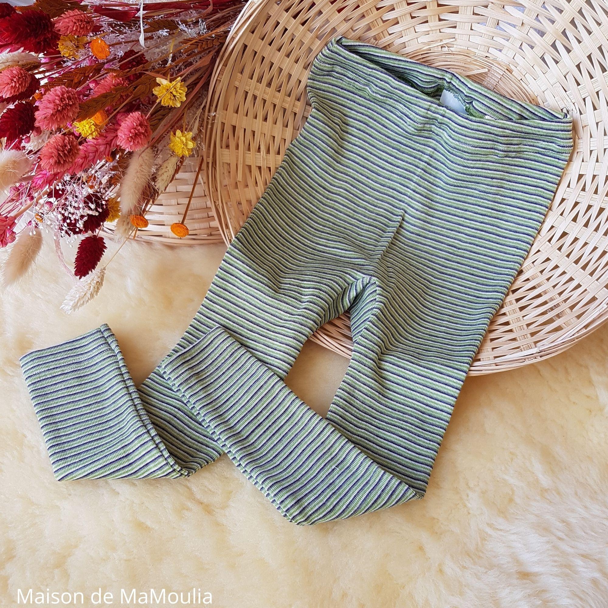 COSILANA - Legging-caleçon enfant - Laine/soie, Vert/Violet