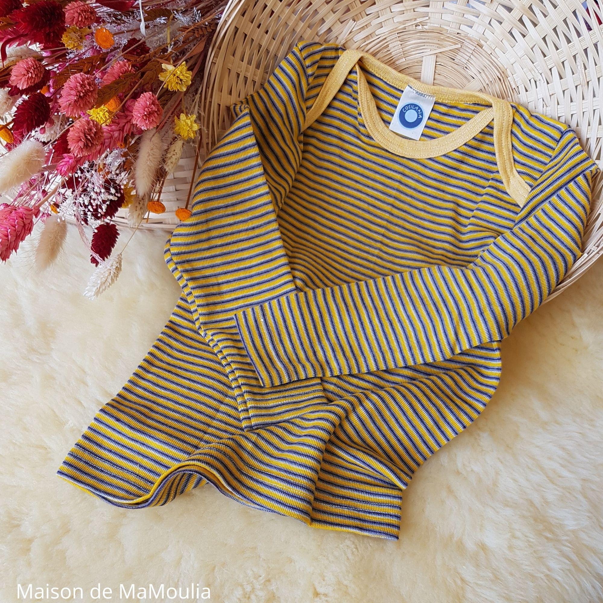 COSILANA - T-shirt bébé et enfant - Laine-soie, Jaune/violet