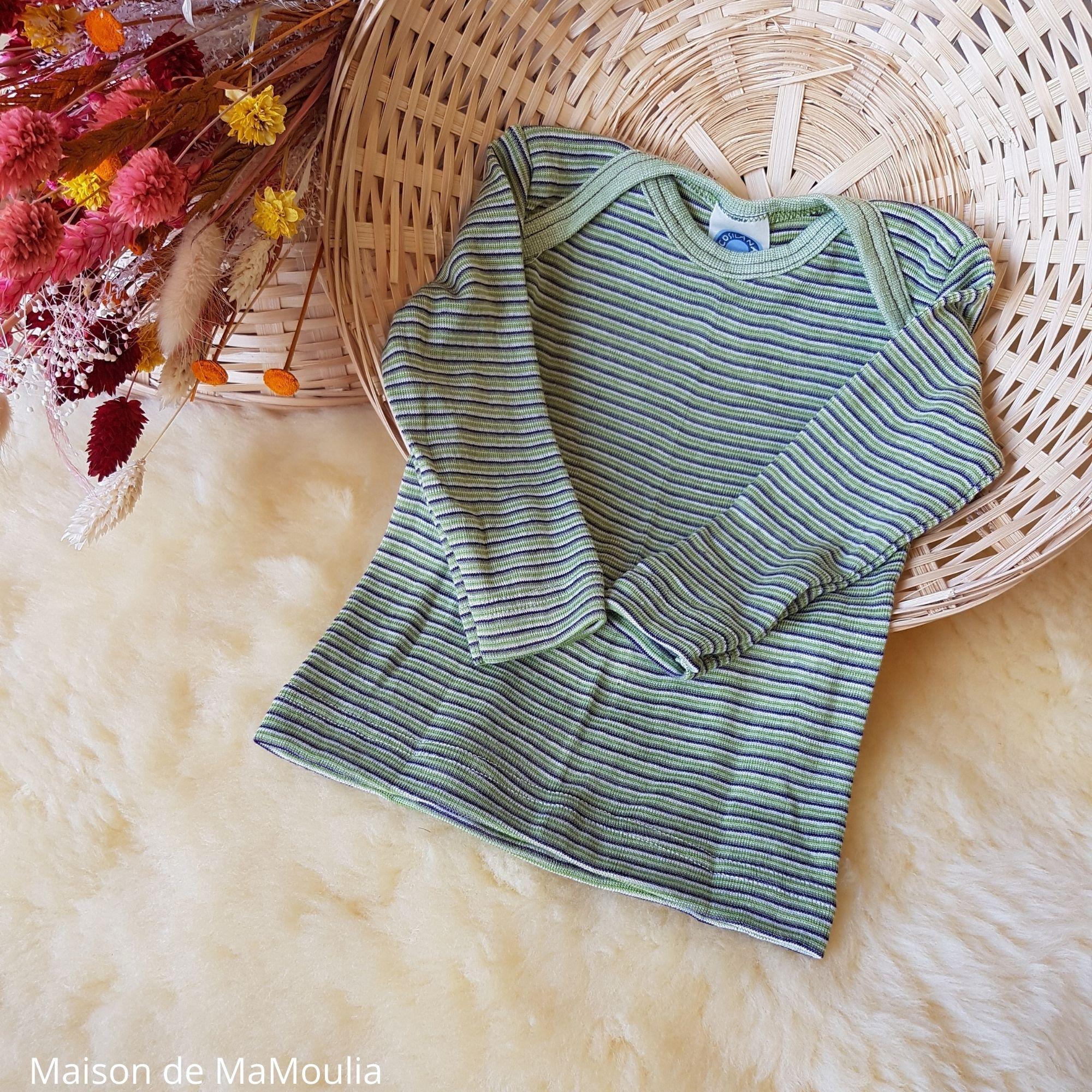 COSILANA - T-shirt pour bébé - Laine-soie, Vert/Violet