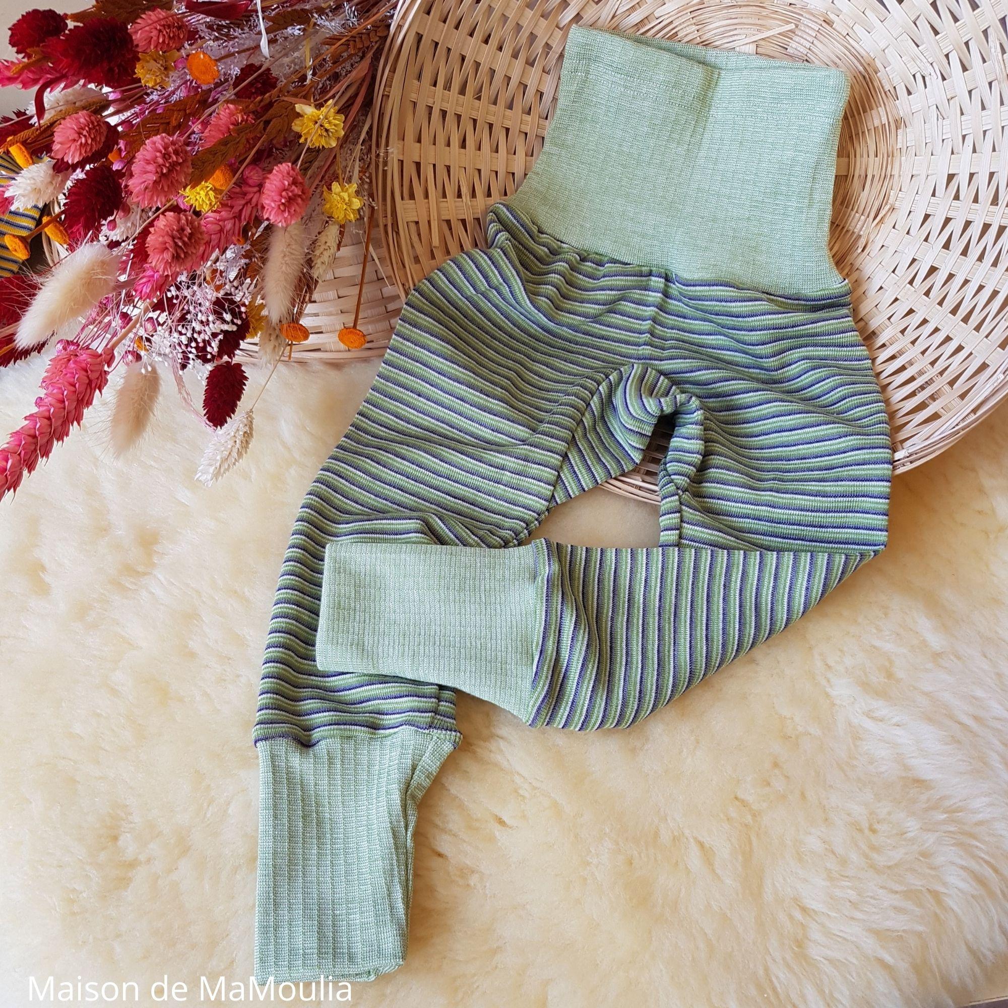 COSILANA - Pantalon ceinture large - Laine/Soie - Vert/Violet