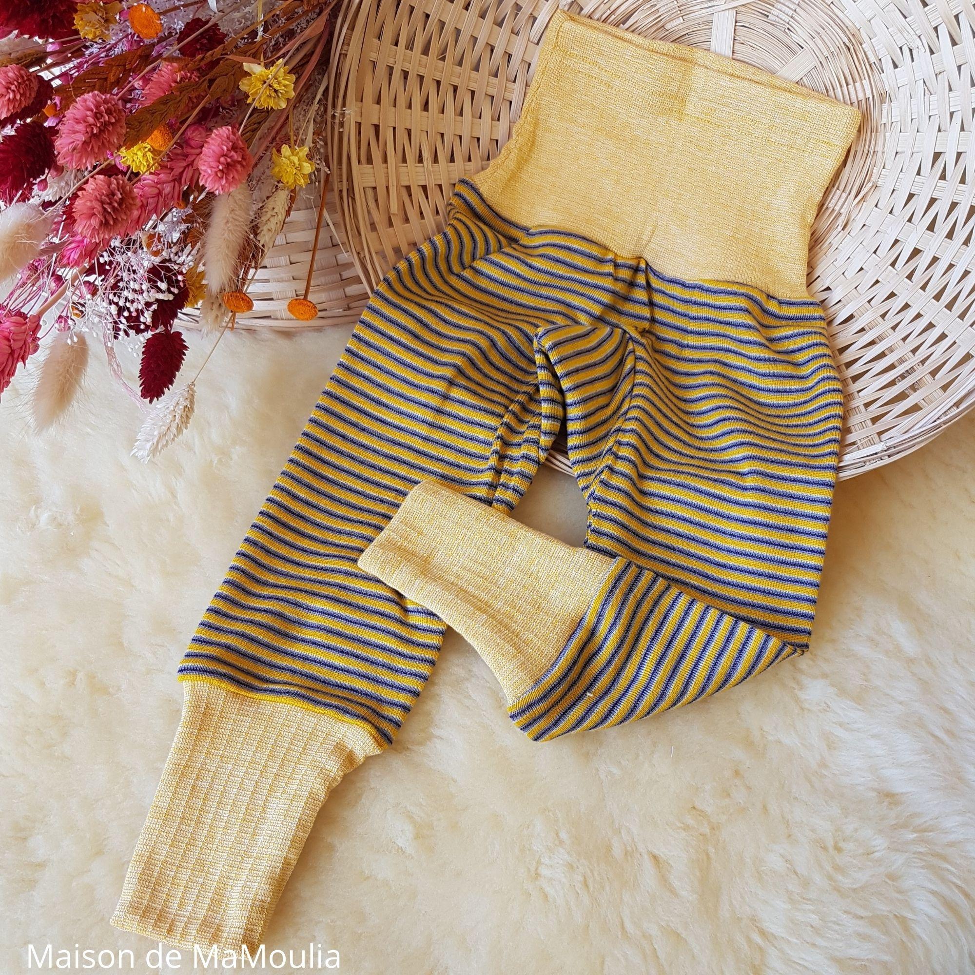 COSILANA - Pantalon ceinture large - Laine/Soie - Jaune/violet