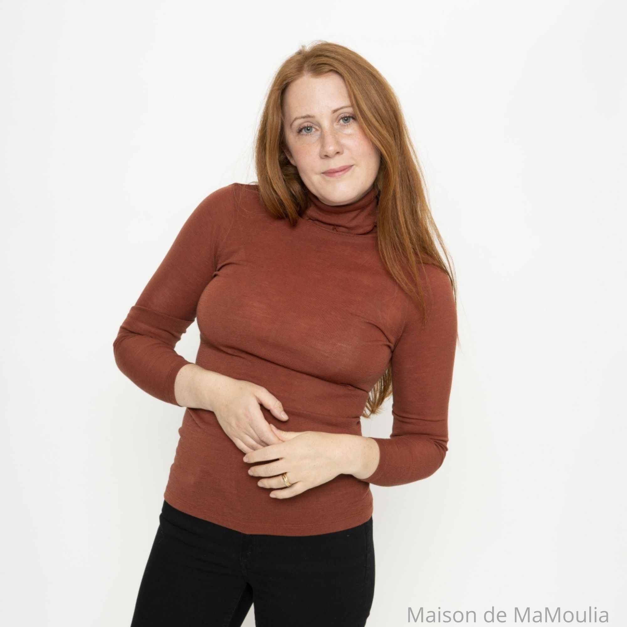 MINIMALISMA - Col roulé pour femme - 100% laine mérinos - Rhubarbe
