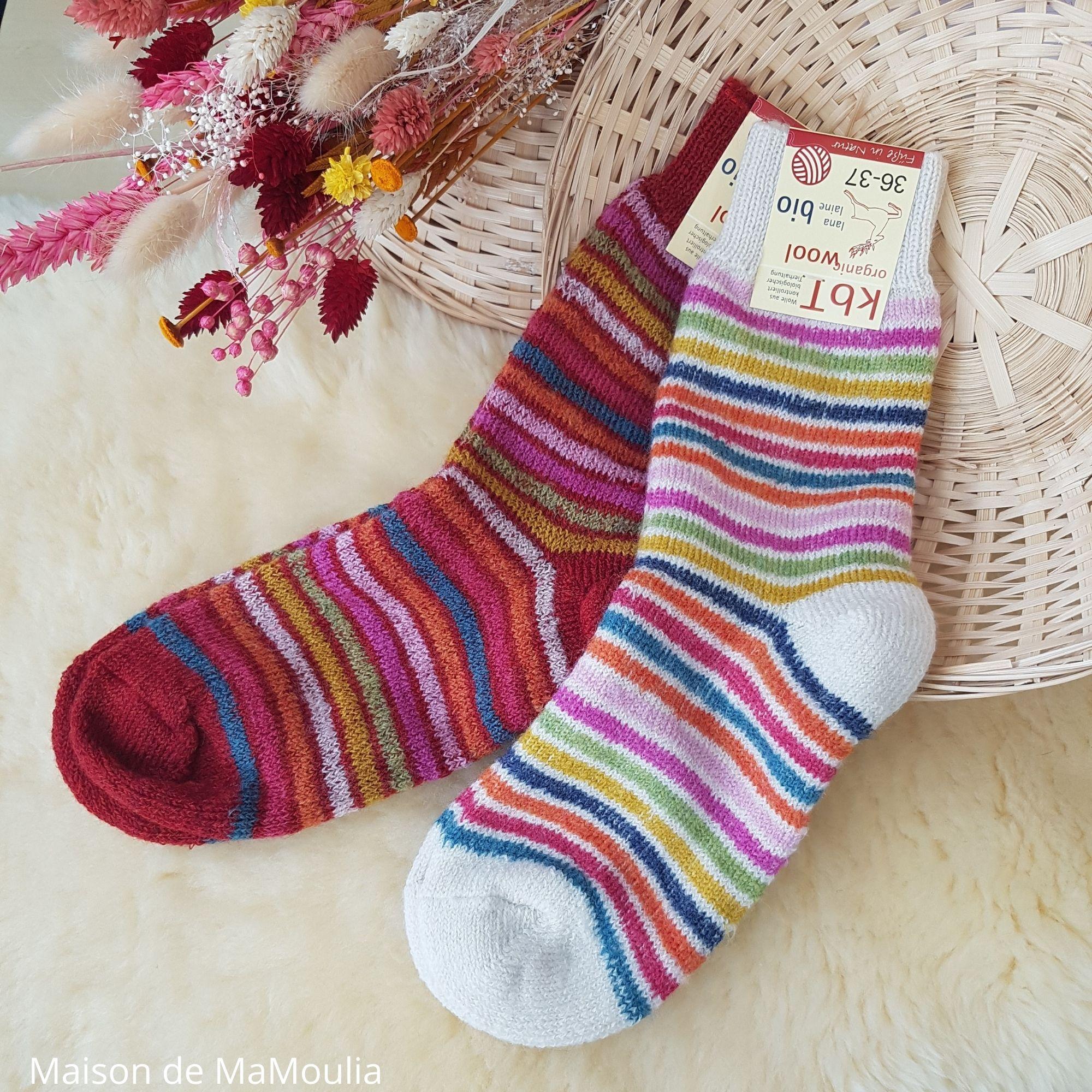 HIRSCH Natur - Chaussettes Arc-en-ciel - 100% laine - Adulte