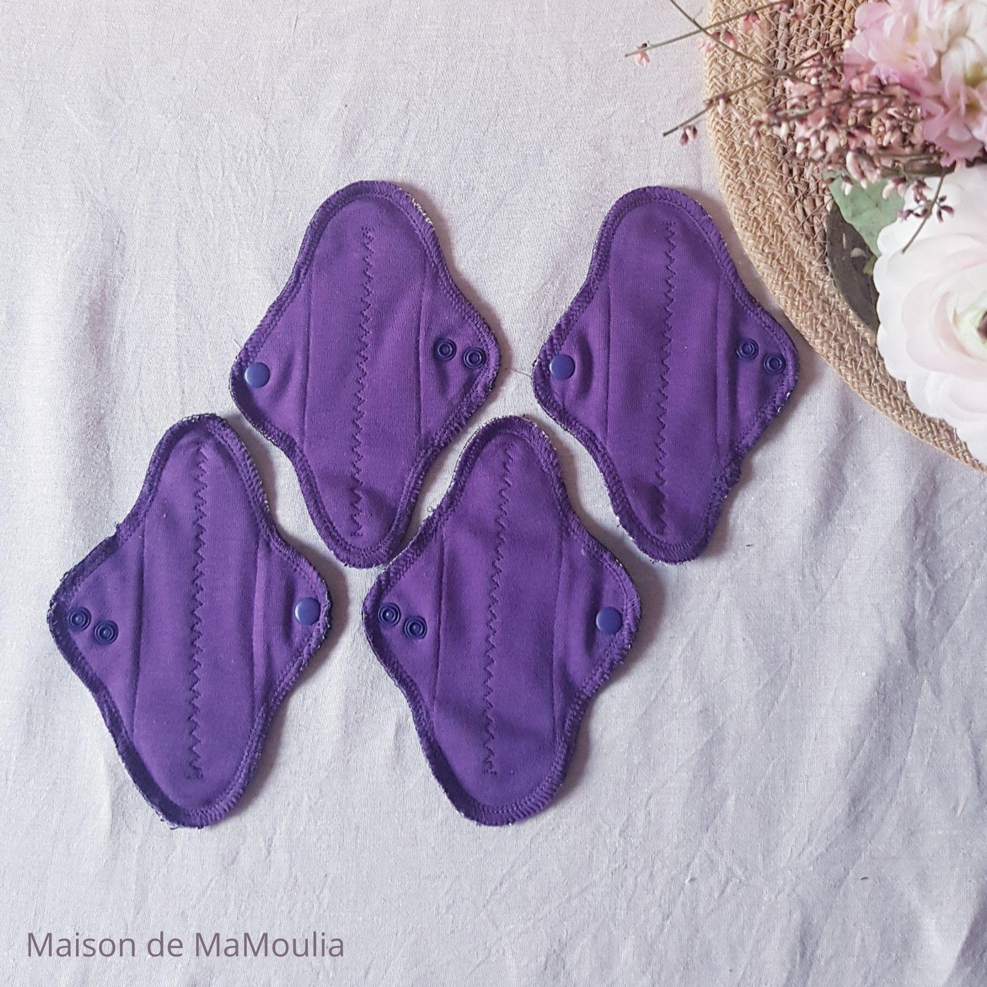 MaM ECOFIT - Serviettes Hygiéniques Lavables - taille MINI - AUBERGINE, lot de 4