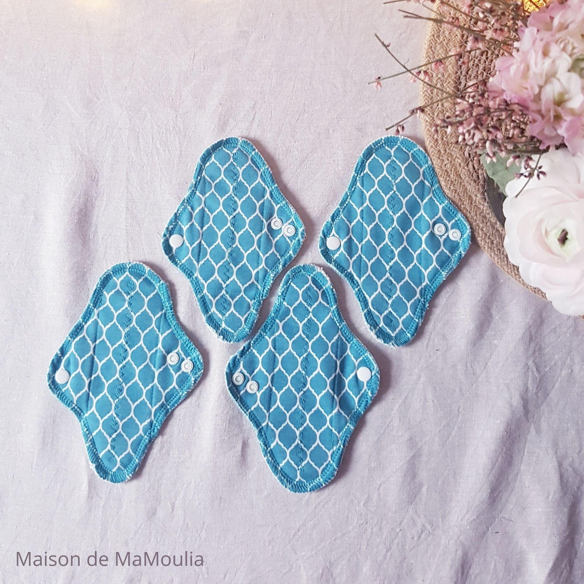 MaM ECOFIT - Serviettes Hygiéniques Lavables - taille MINI - BLEU, lot de 4