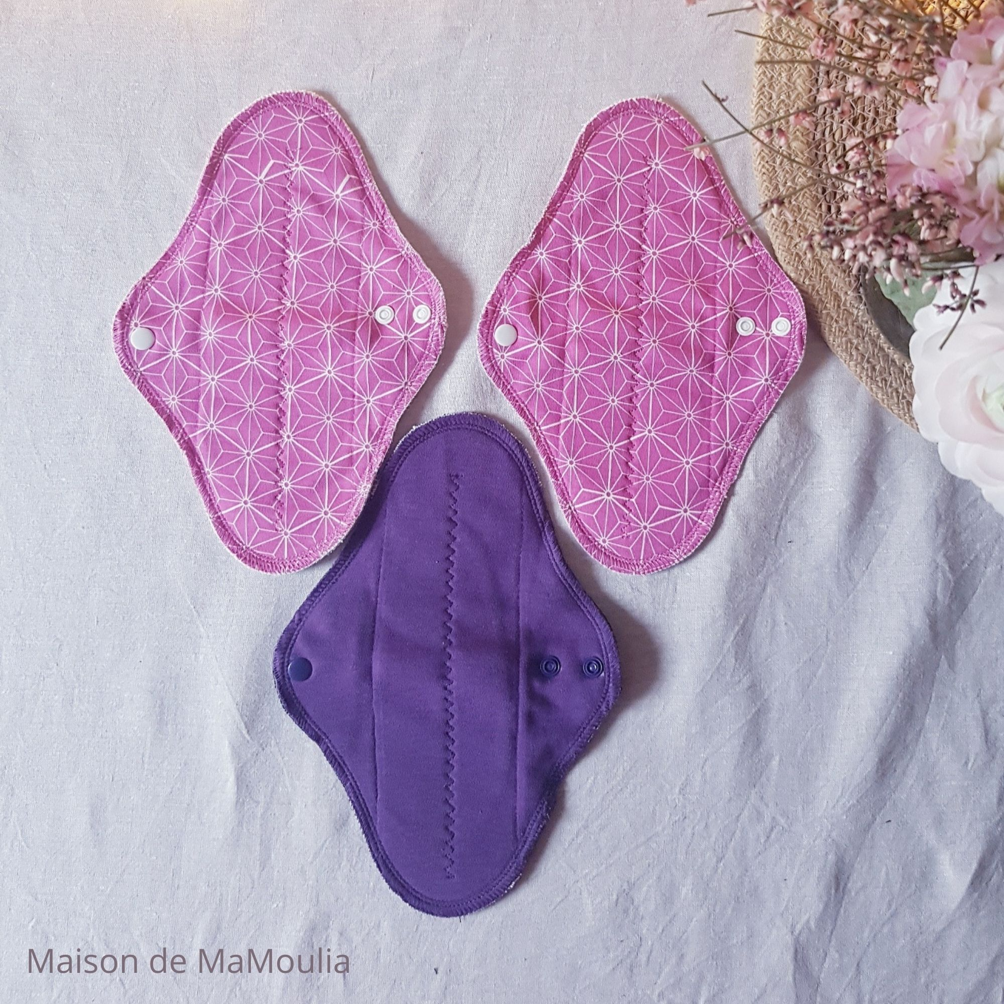 MaM ECOFIT - Serviettes Hygiéniques Lavables - taille REGULAR PLUS - ROSE/AUBERGINE, lot de 3