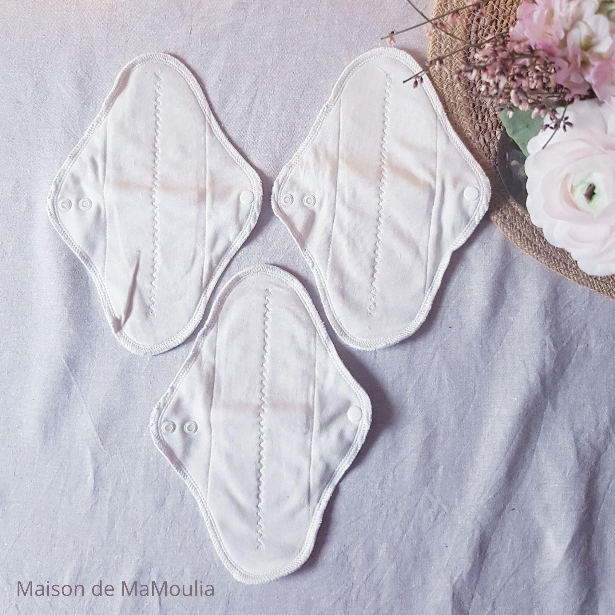 MaM ECOFIT - Serviettes Hygiéniques Lavables - taille REGULAR PLUS - ÉCRU, lot de 3