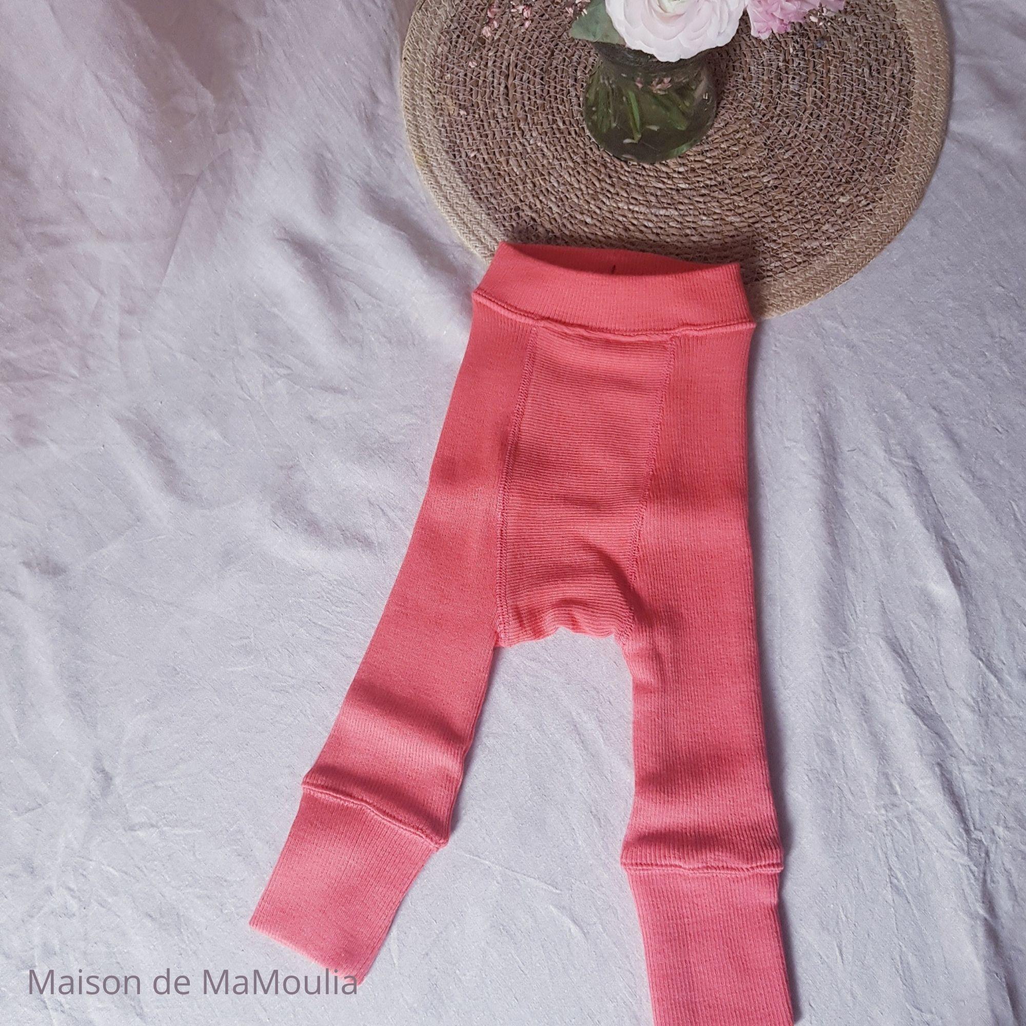MANYMONTHS - LONGIES Pantalon Évolutif - 100% laine mérinos - Réversible - CORAL/CRANBERRY