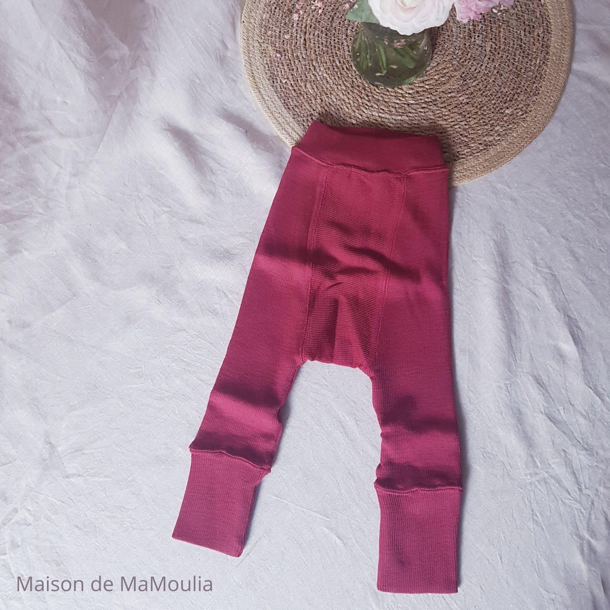 MANYMONTHS - LONGIES Pantalon Évolutif - 100% laine mérinos - Réversible - RASBERRY/POPPY RED