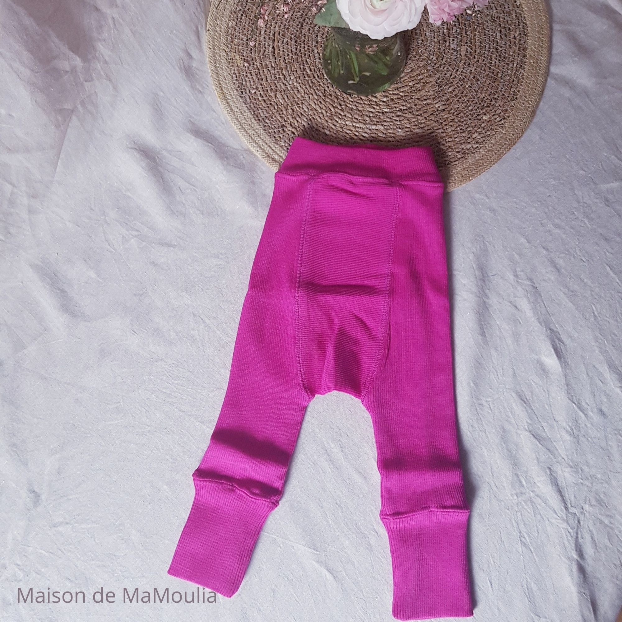 MANYMONTHS - LONGIES Pantalon Évolutif - 100% laine mérinos - Réversible - LILAC/LOTUS